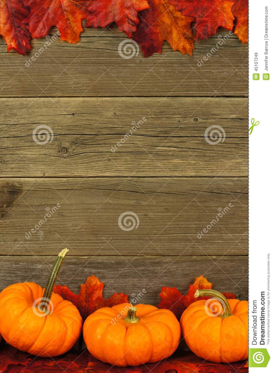 Autumn leaves and pumpkin frame