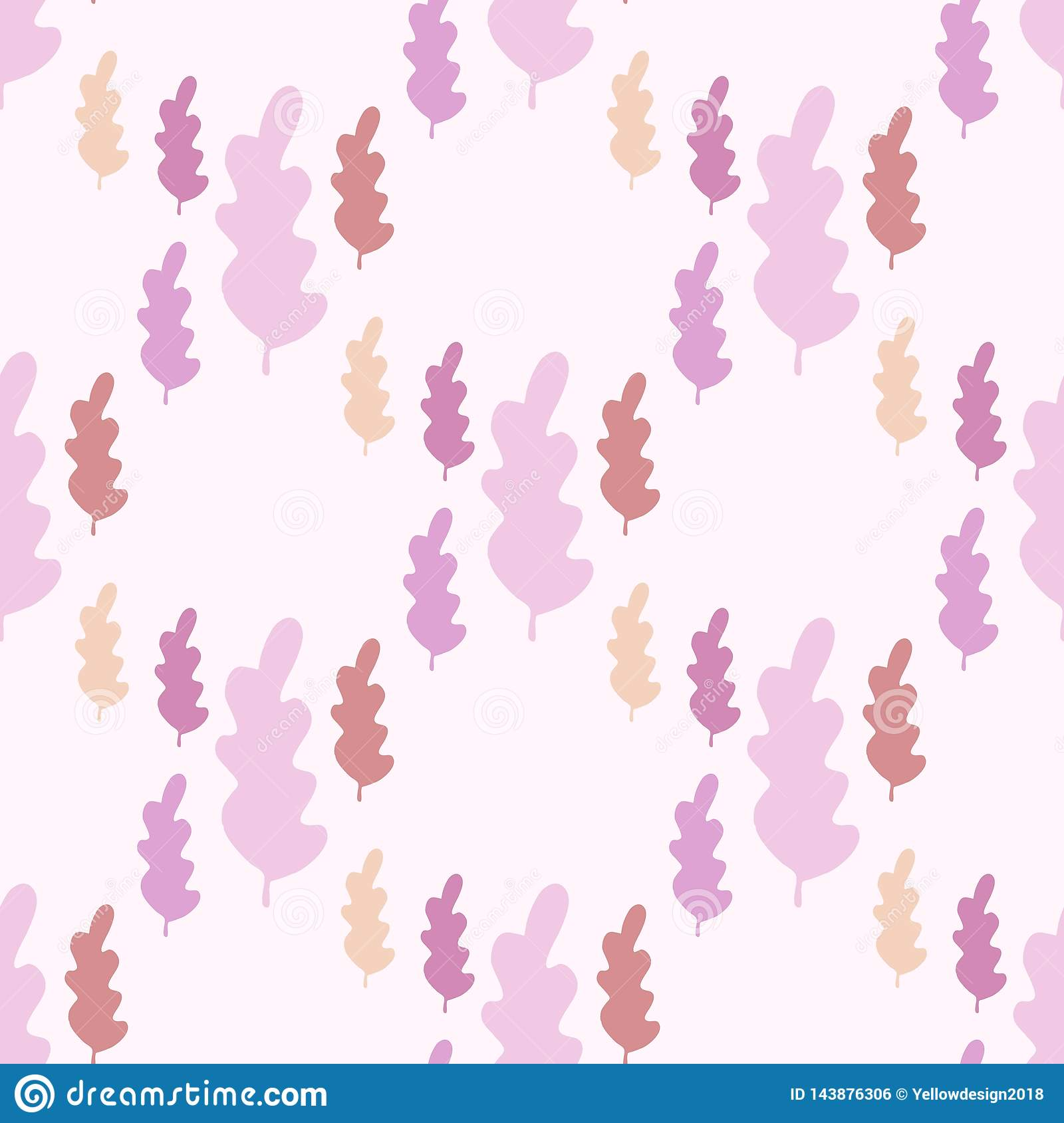 Autumn leaves seamless pattern in pastel colors. Leaf branch backdrop
