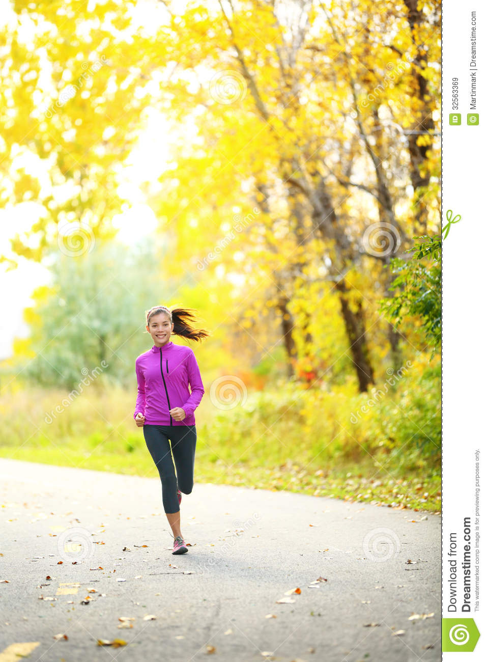 Autumn Lifestyle Woman Running In Fall Forest Royalty Free ...