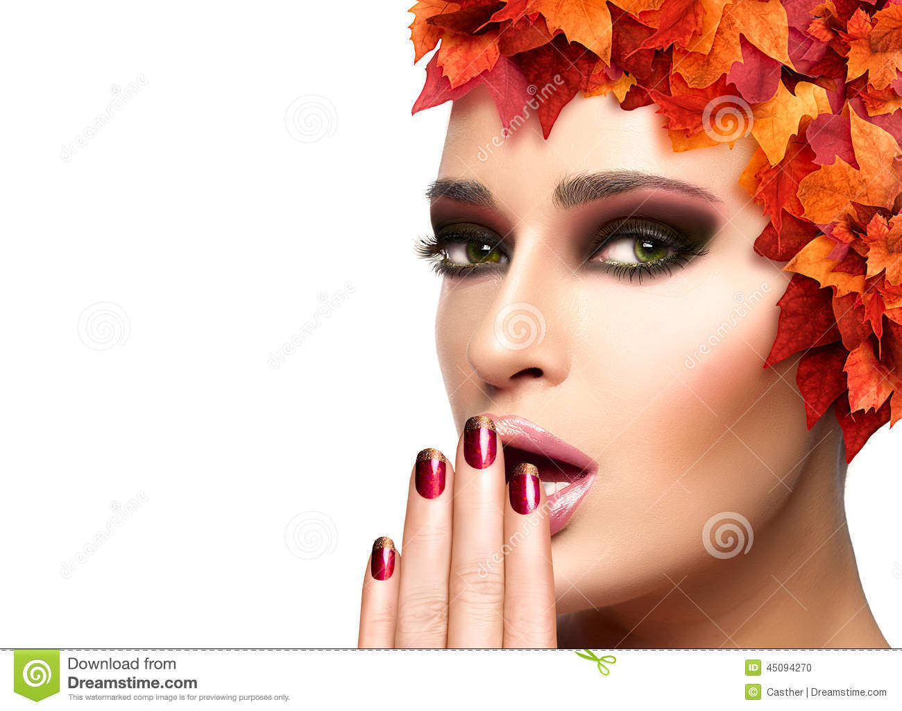 Autumn Makeup And Nail Art Trend. Beauty Fashion Girl