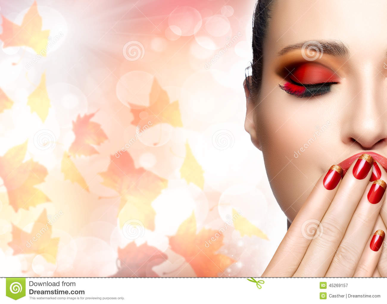 Autumn Makeup And Nail Art Trend Fall Beauty Fashion Girl Stock Photo Image 45269157