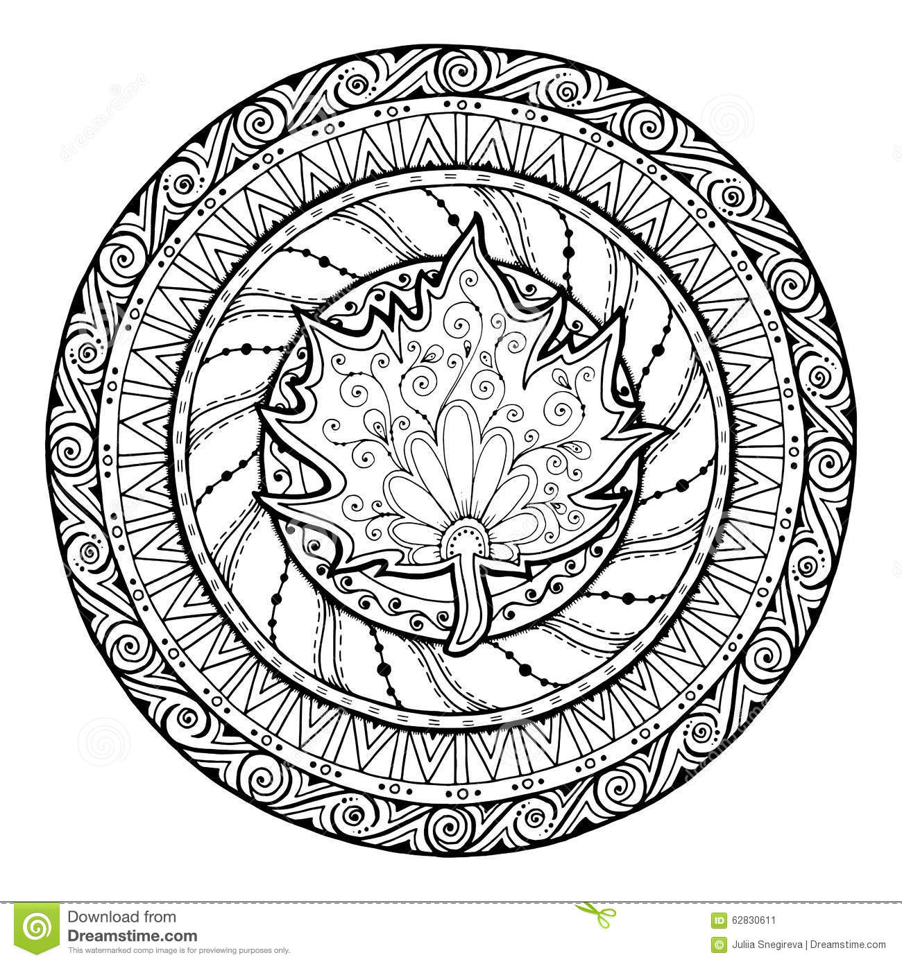 Autumn mandala tribal doodle with maple leaf stock for Autumn mandala coloring pages
