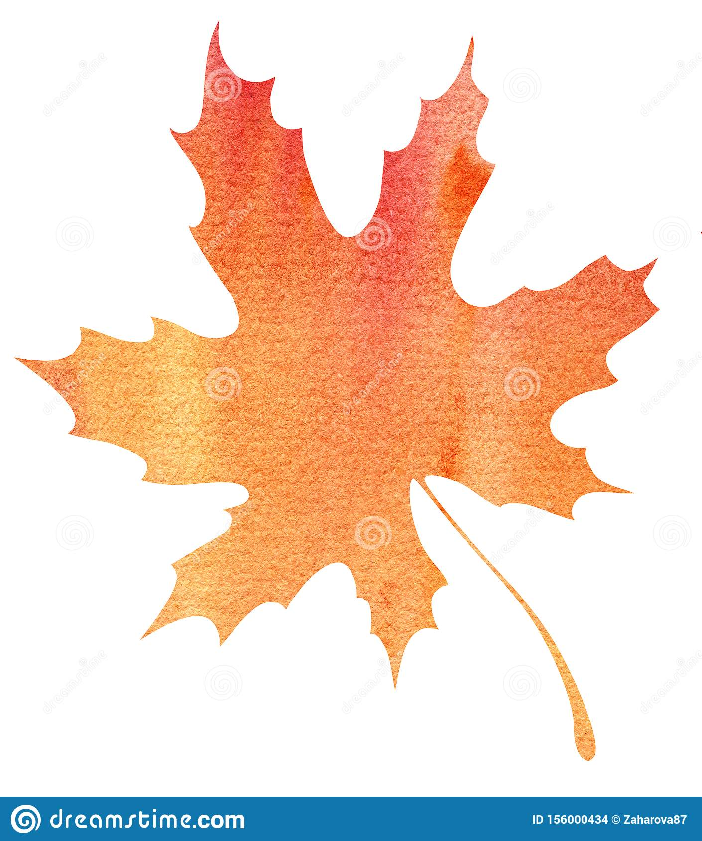 Autumn maple leaf. Orange-yellow gradient. Abstract watercolor fill. Hand drawn illustration. Isolated on a white