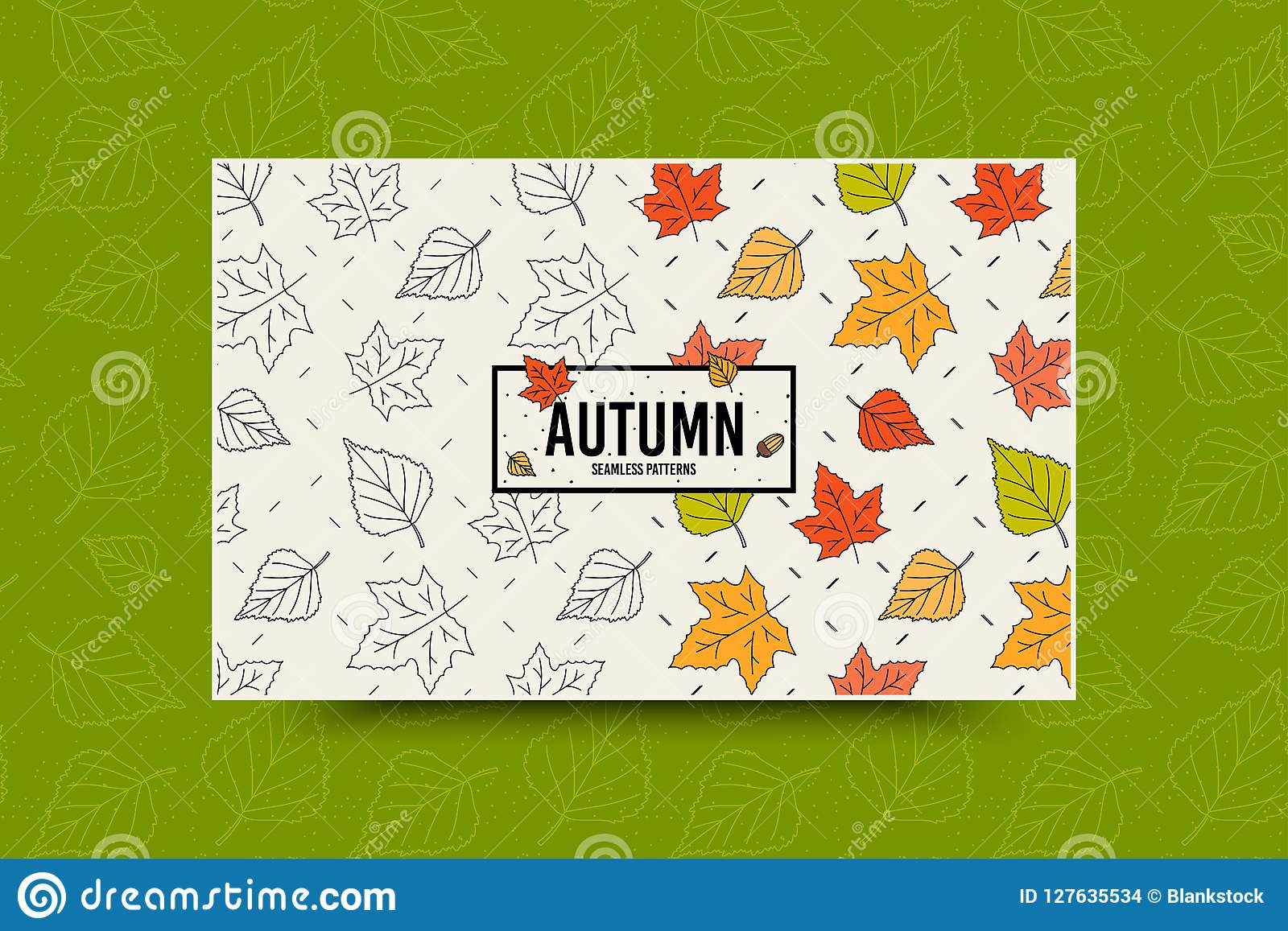 Autumn maple leaf pattern. Fall leaves seamless pattern. Seasonal web banner template with leaf texture. Vector