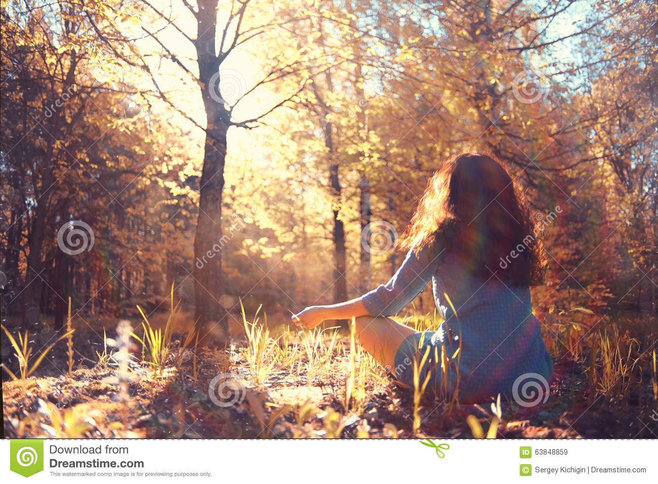 Meditation in forest stock image. Image of confidence