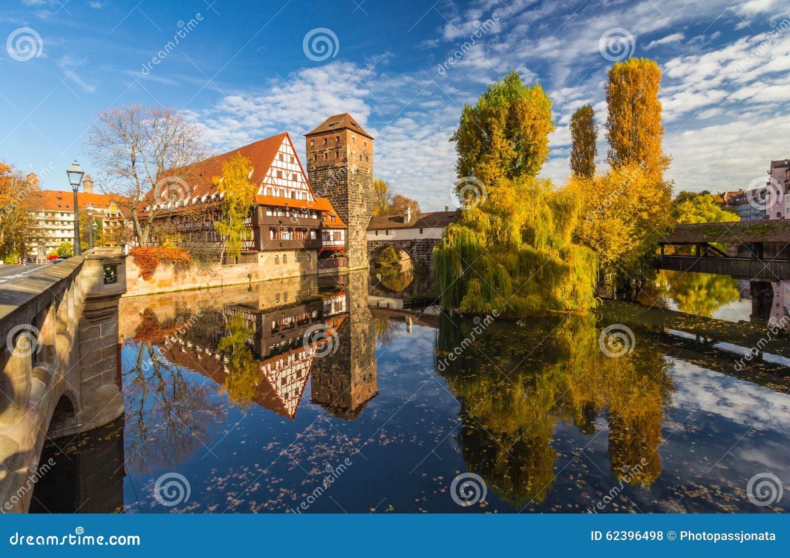 Autumn mirror scene- Nuremberg-Germany-river Pegnitz