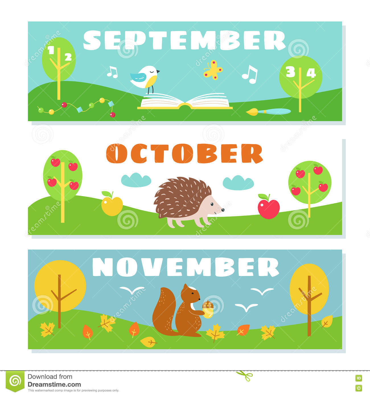 Autumn Months Calendar Flashcards Set Nature Symbols Illustrations Vector Design as well  on t2 s 069 earth sun and moon worksheets