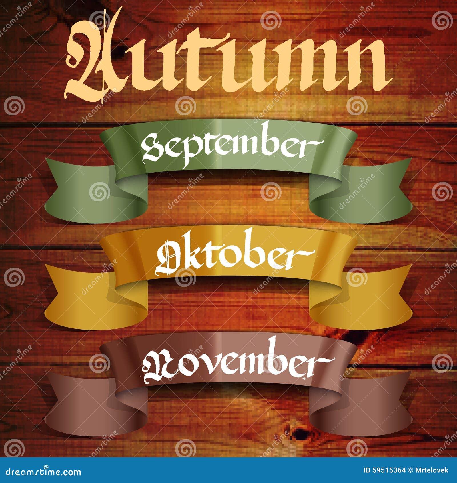 Editorial Calendar Design : Autumn months september october november stock vector