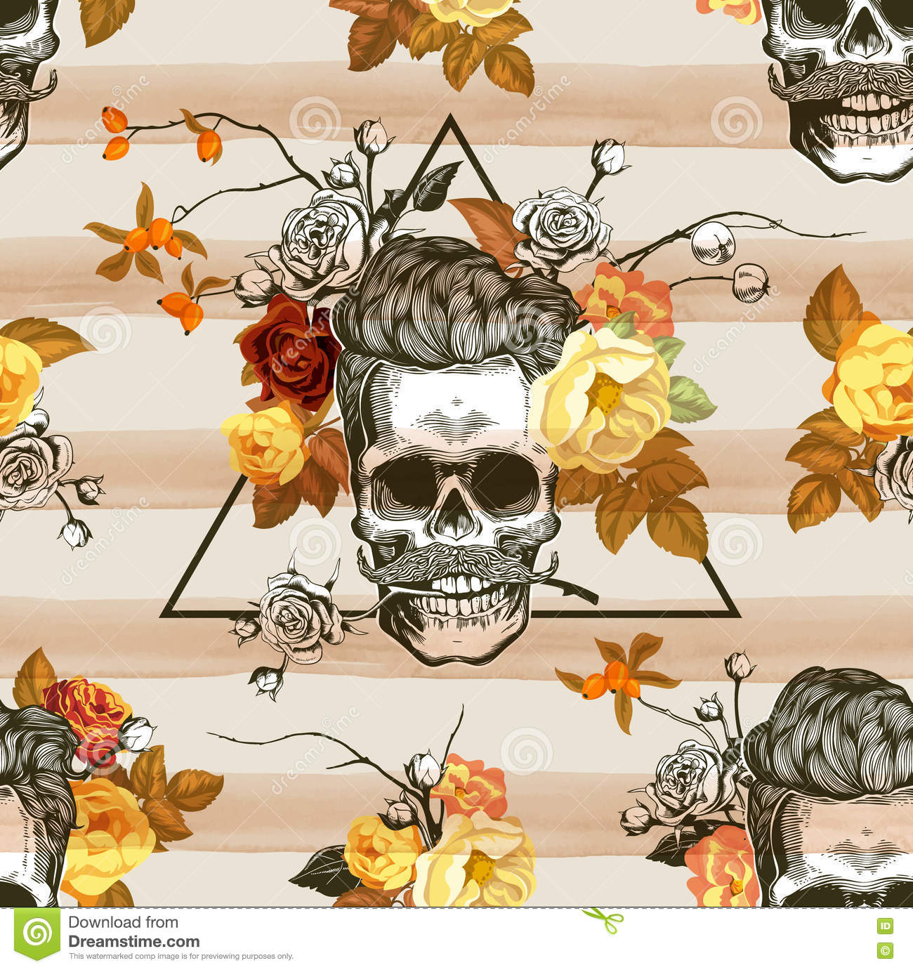 Autumn mood. Seamless pattern with the skulls, flowers and leaves in the background. Skull silhouette in engraving
