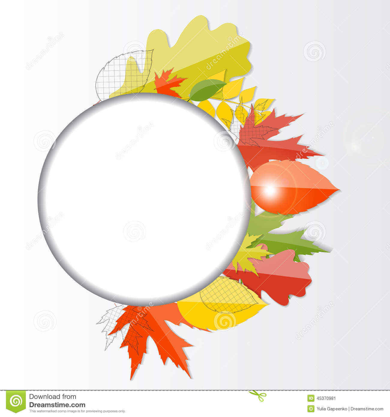 Autumn Natural Leaves Background brillant Vecteur