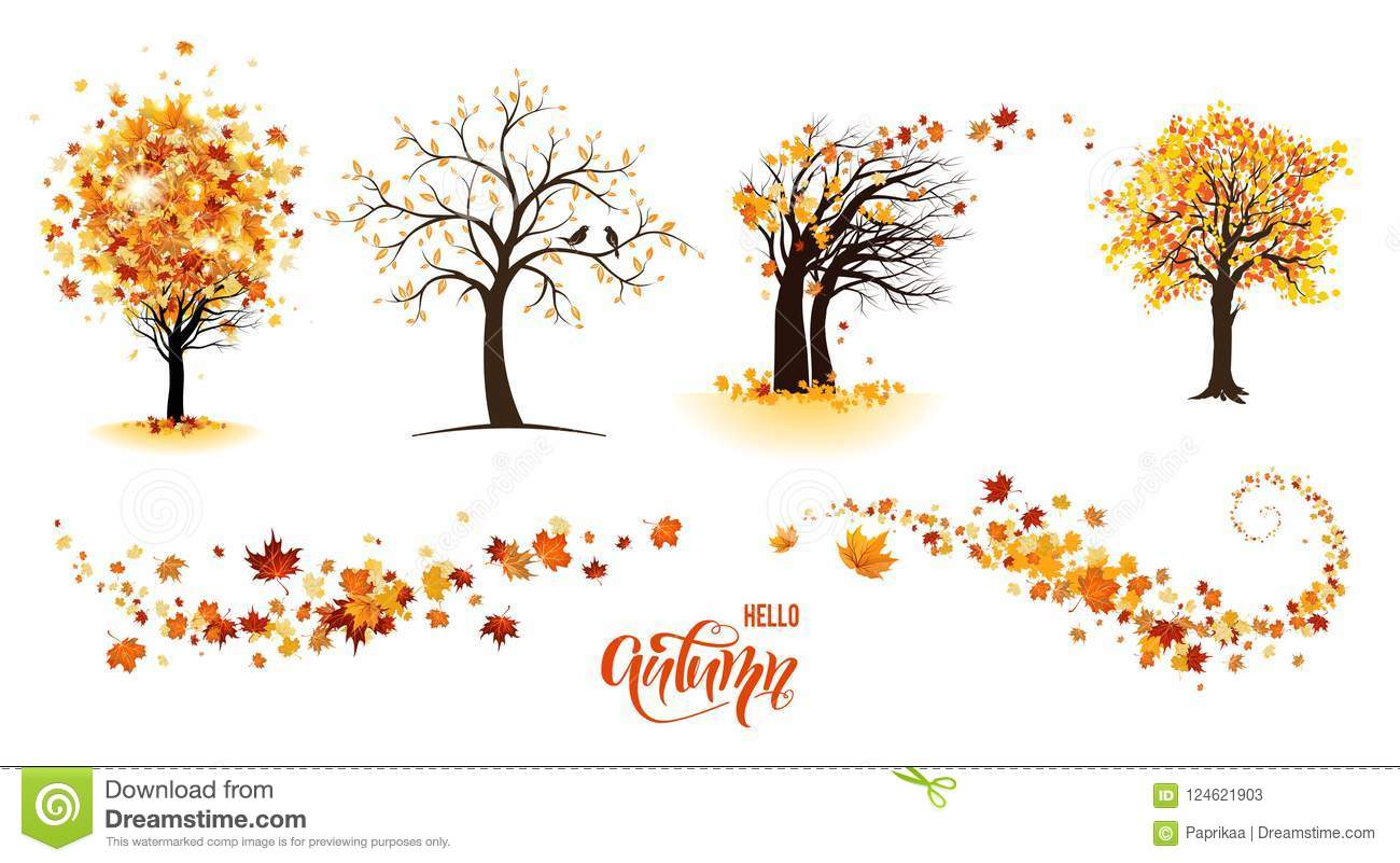 Trees And Leaves Stock Vector Illustration Of Climate 124621903
