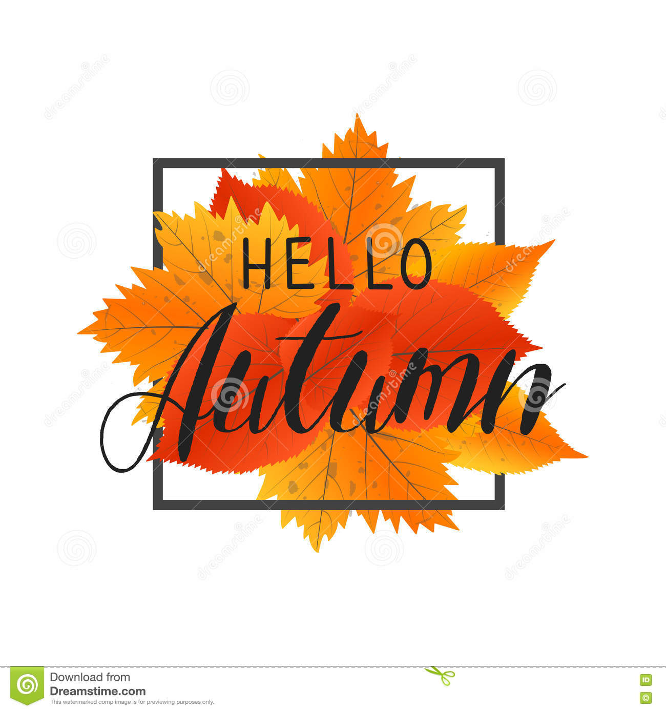 autumn new season hello  lettering with hand drawn letters  label and banner template with