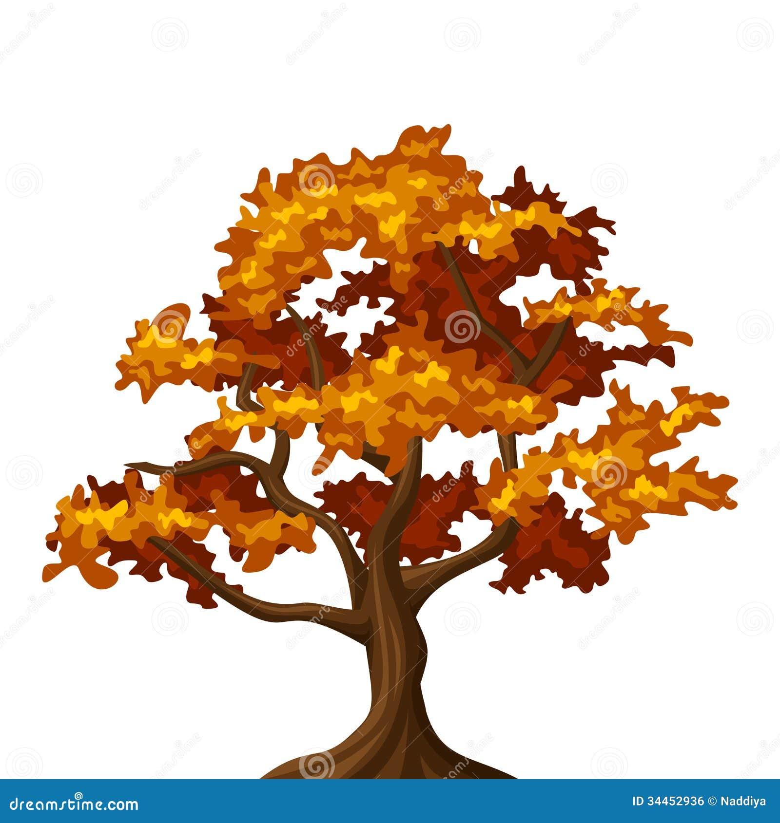 Autumn oak tree  Fall Tree Illustration