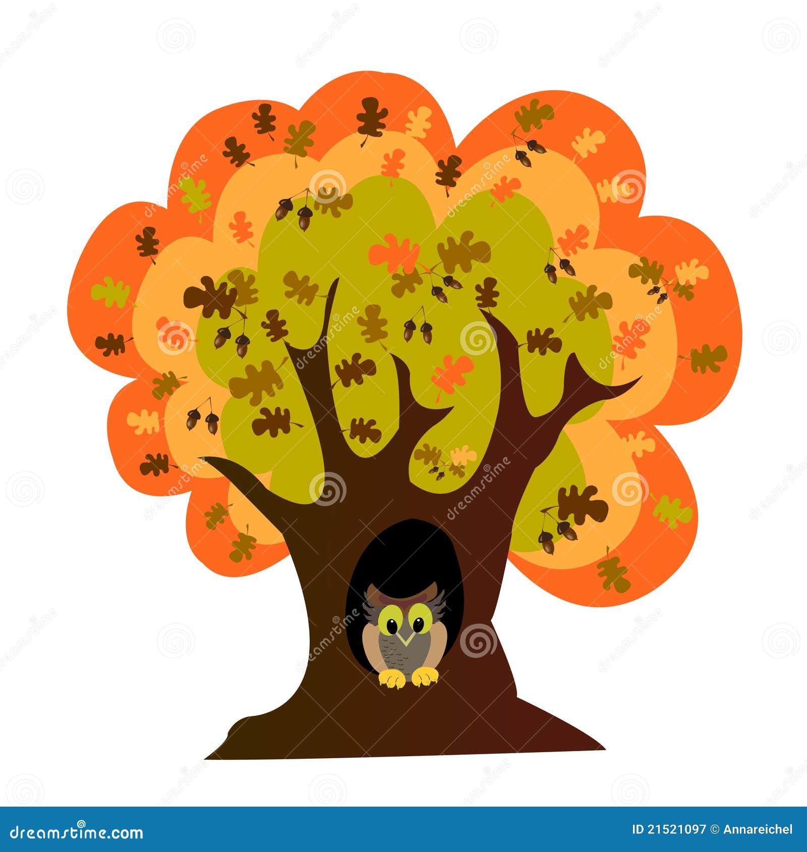 Autumn Oak Tree And Owl Stock Vector Illustration Of