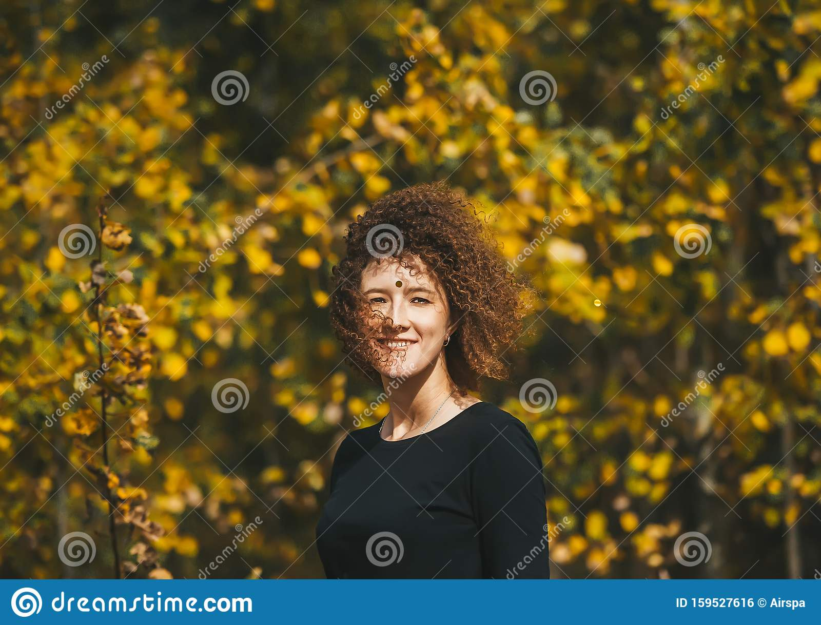 Beautiful Curly Young Woman With Third Eye On Forehead On ...