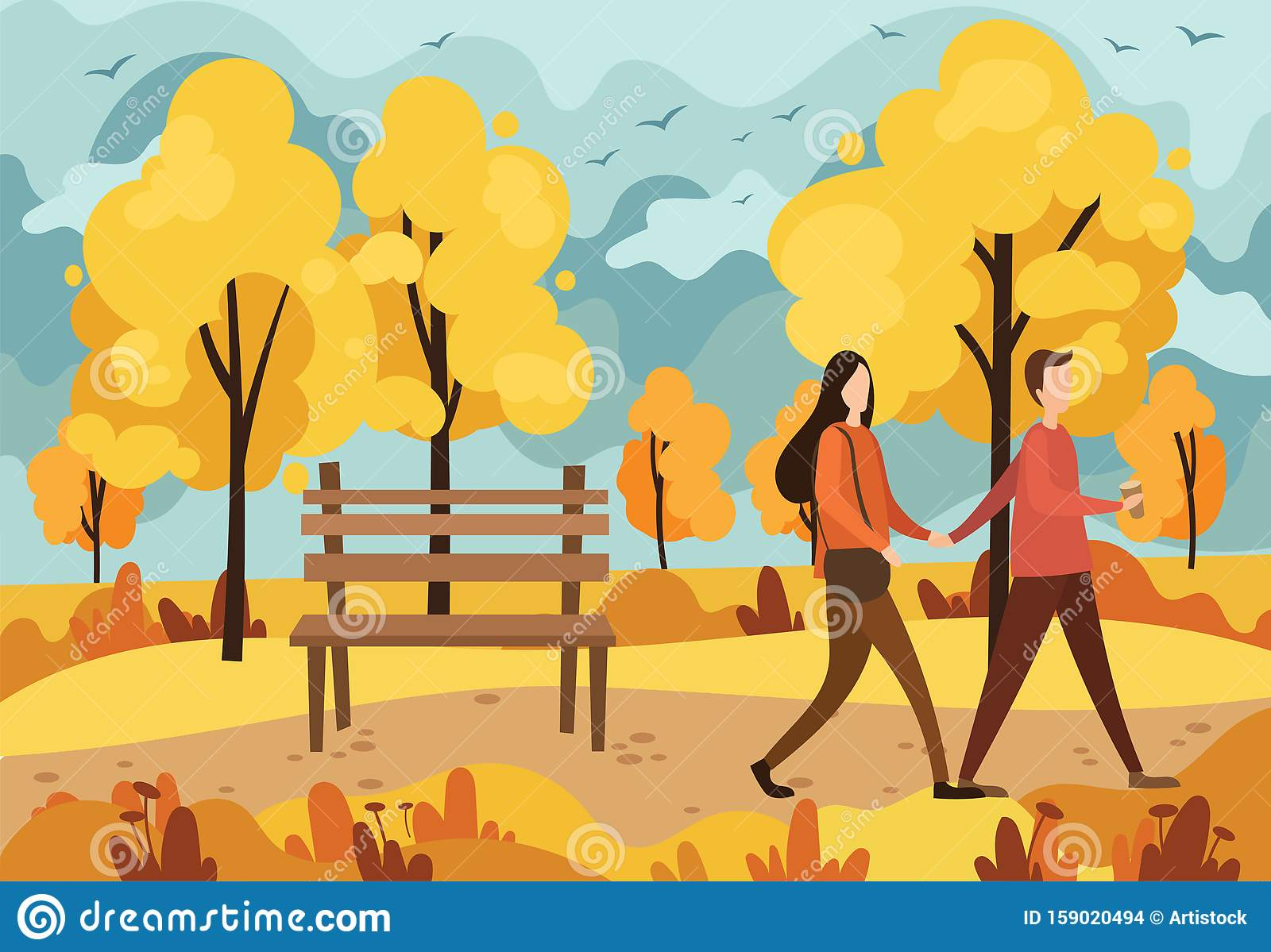 Autumn Park With A Bench And A Walking Couple In Love Vector Illustration Of A Cartoon Autumn Park With Yellow Trees Stock Vector Illustration Of Lovers Happy 159020494 Various formats from 240p to 720p hd (or even 1080p). https www dreamstime com autumn park bench walking couple love illustration cartoon autumn park yellow trees people autumn image159020494