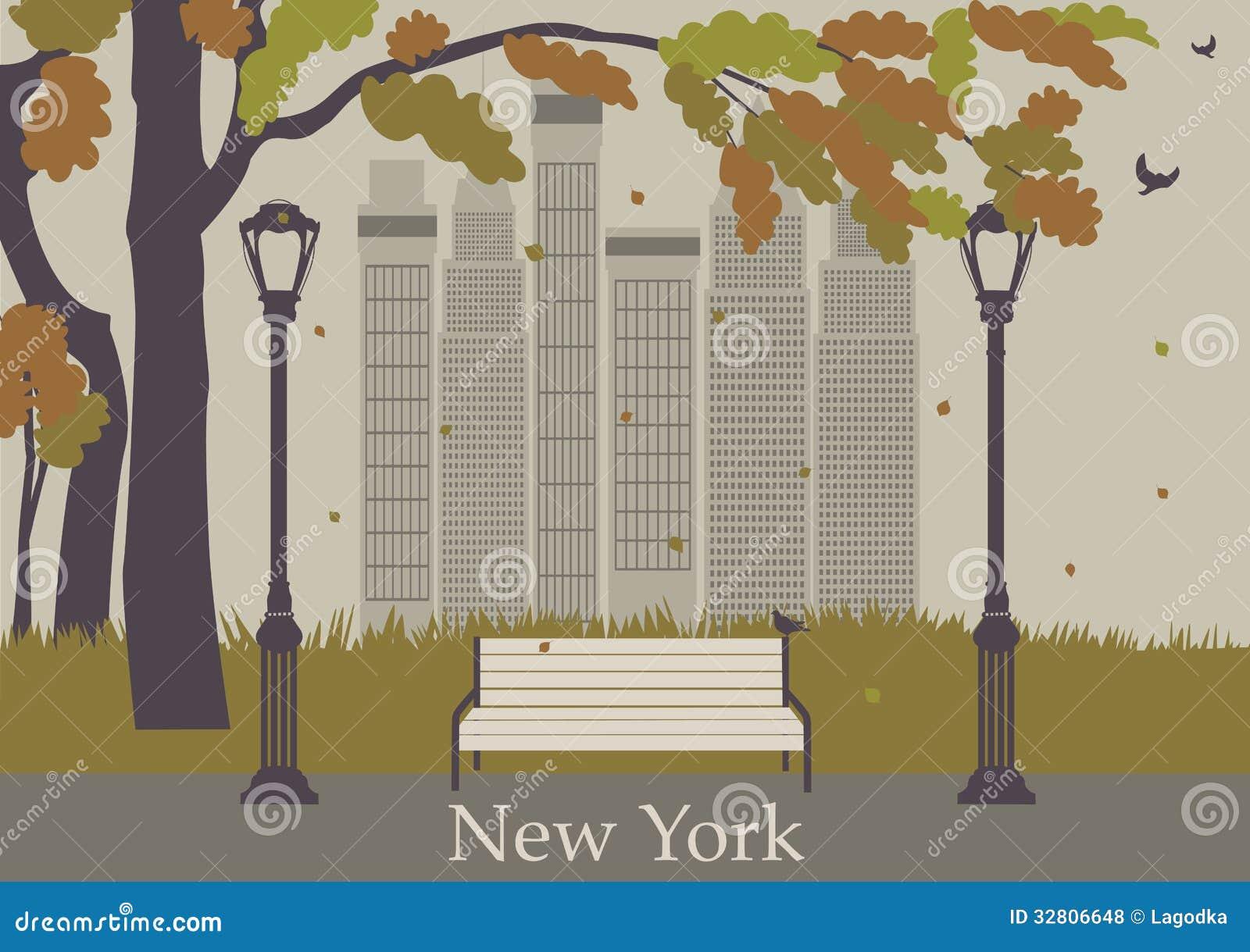 Autumn Park New York Stock Vector Illustration Of