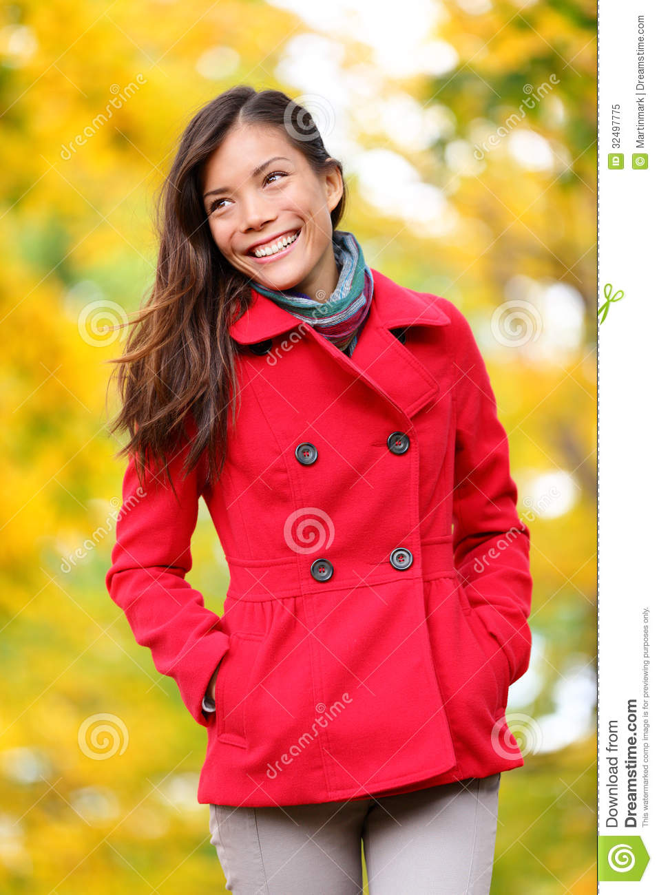 Autumn People Fall Woman Walking In Forest Royalty Free