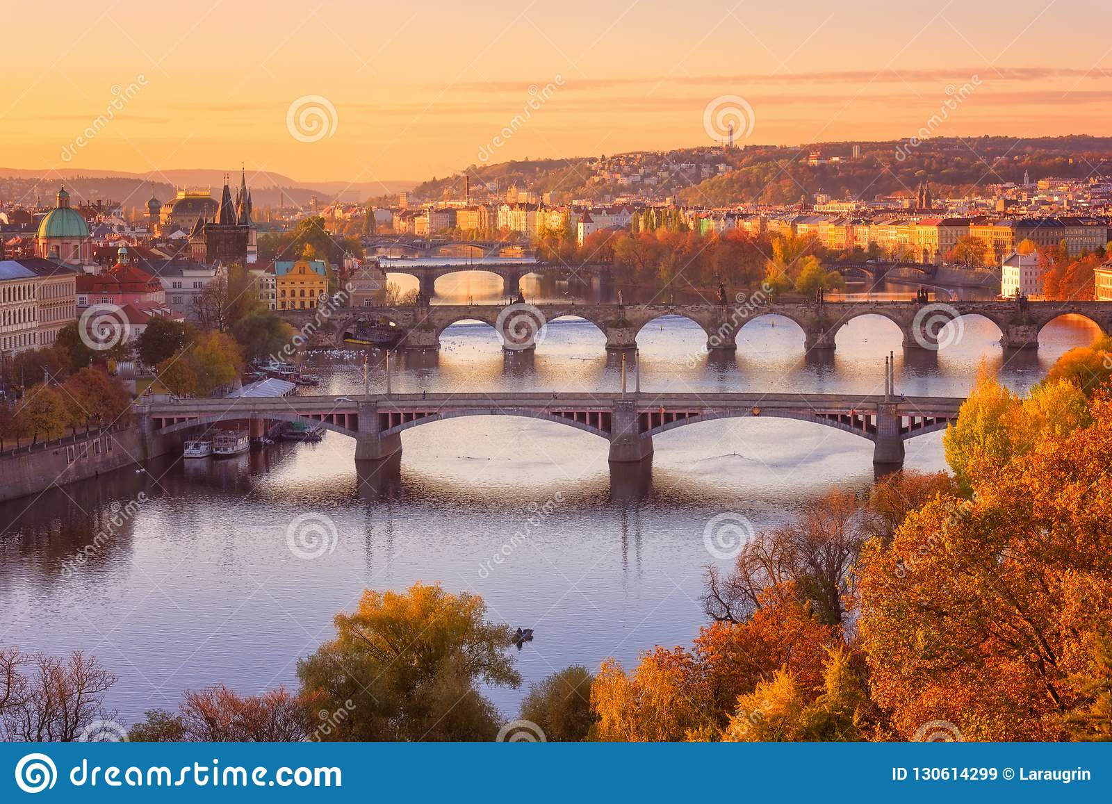 Prague, panoramic view to the historical bridges, old town and Vltava river from popular view point in Letna park, Czech Republic