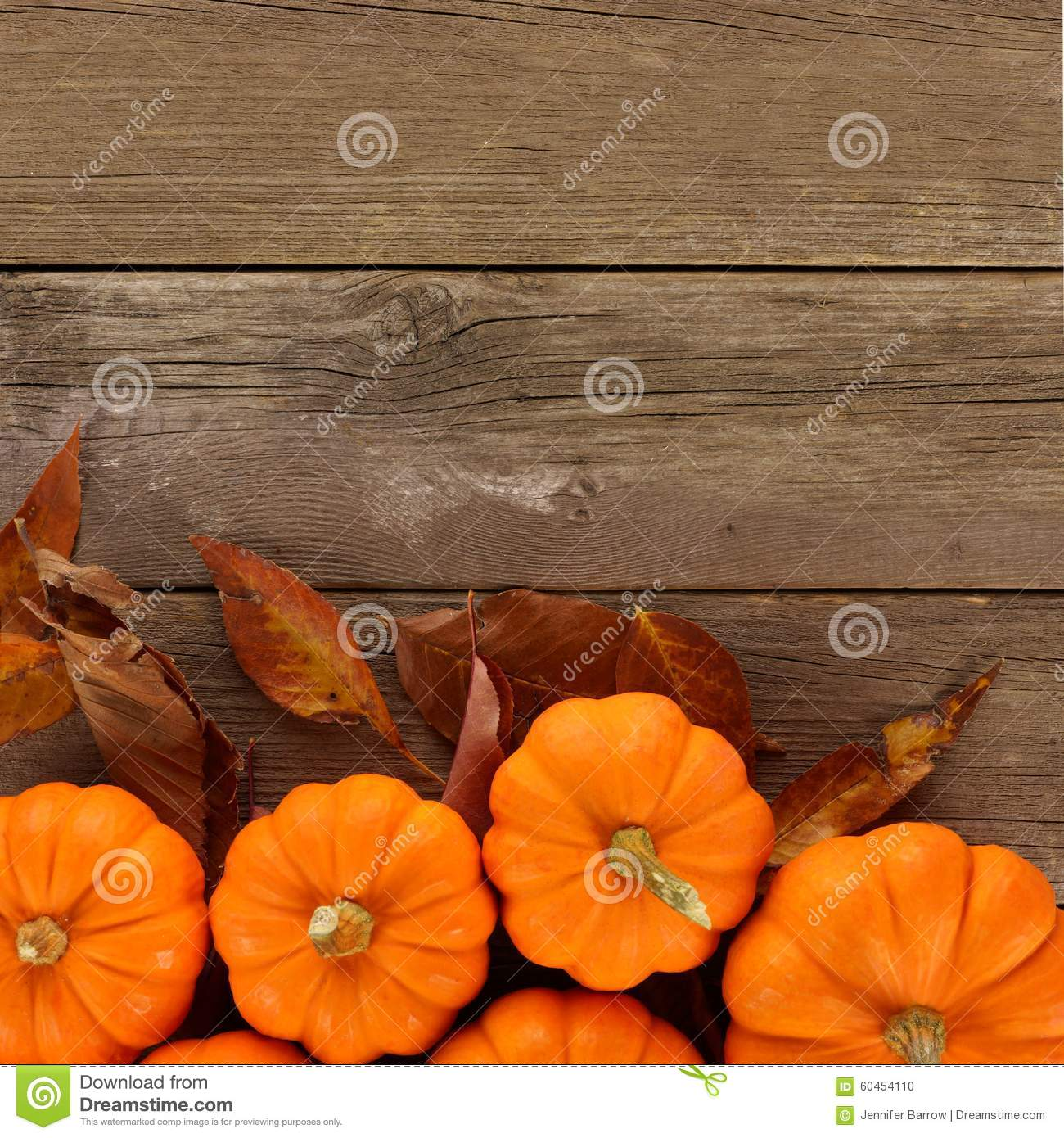 Autumn Pumpkins And Leaves Border On Rustic Wood Background