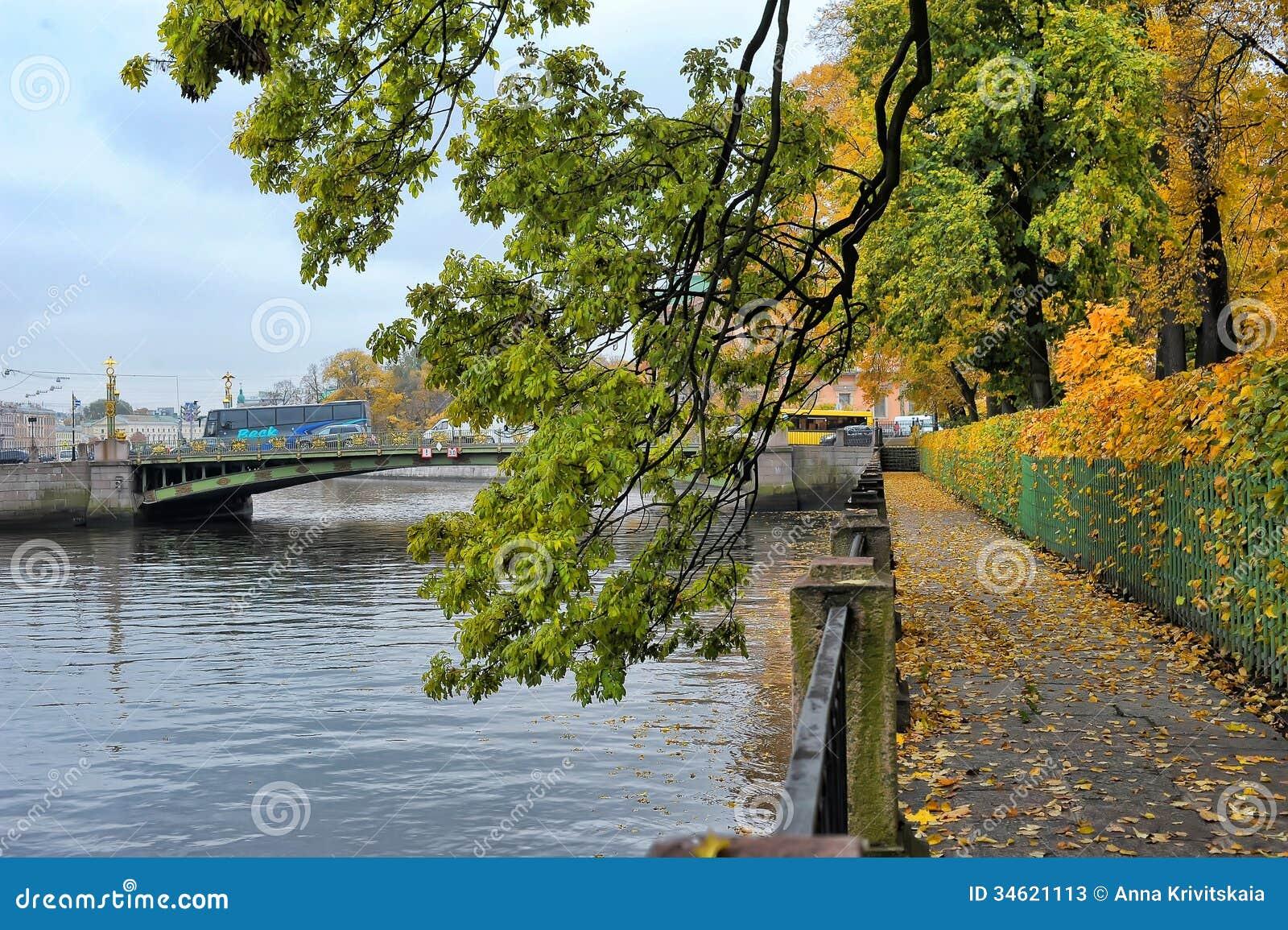 Over the fontanka river summer garden st petersburg russia