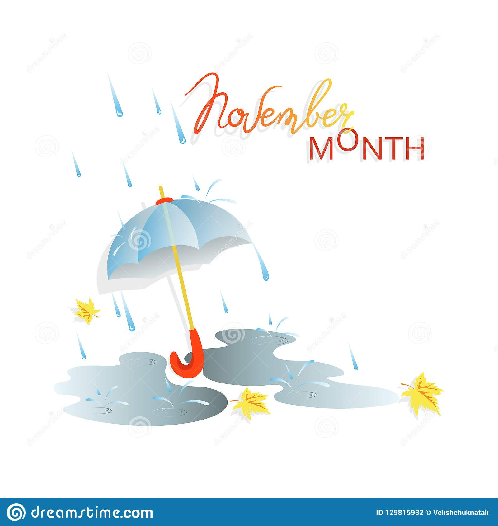 Autumn Rain November Month Stock Vector Illustration Of