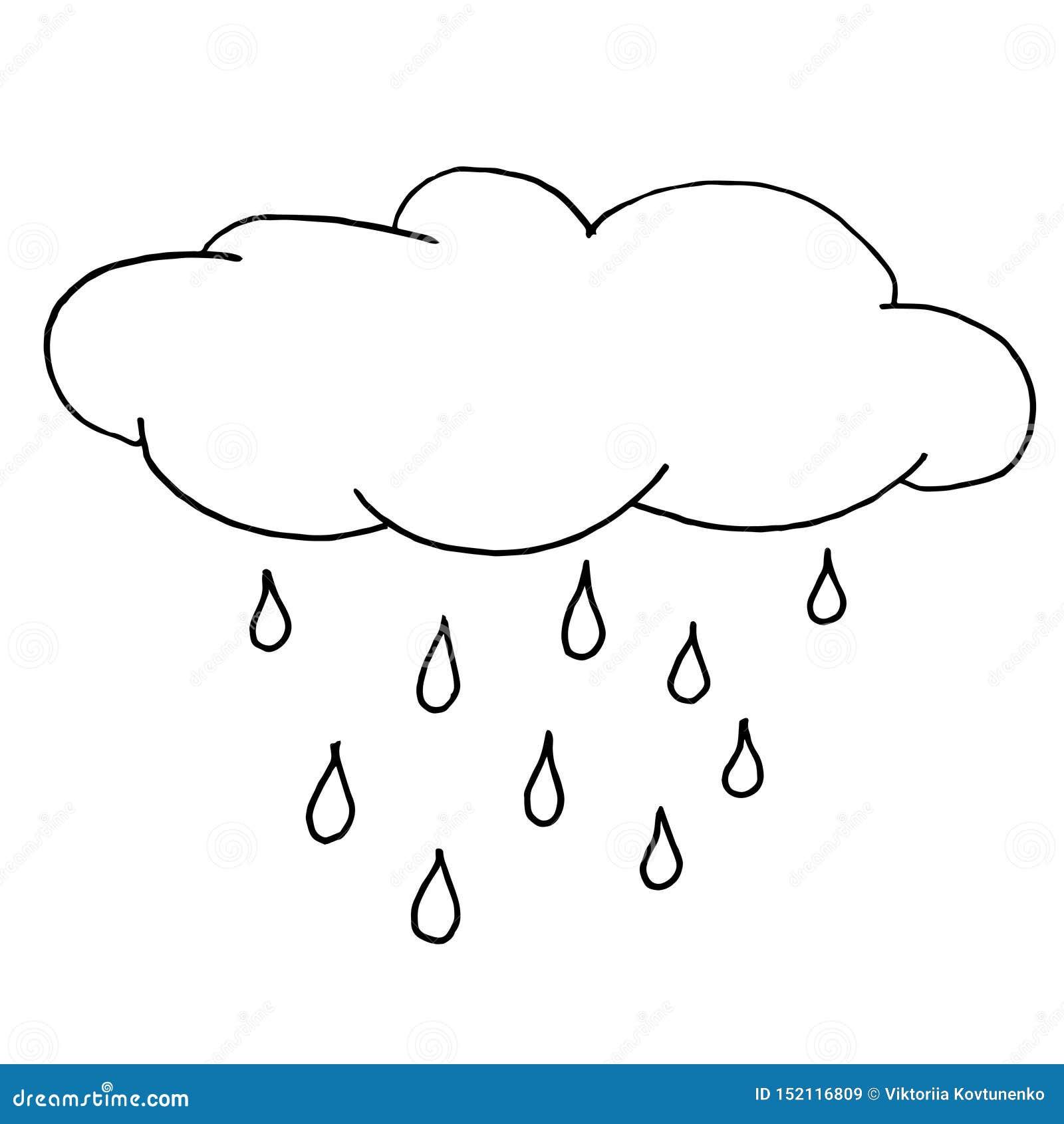 Autumn rainy cloud monochrome sketch hand drawing black