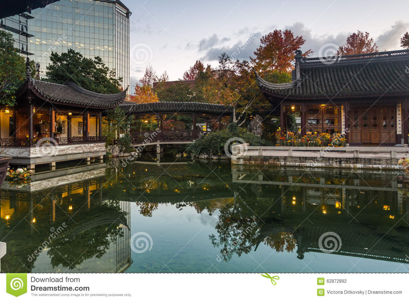 Autumn Reflection In Lan Su Chinese Garden Pond Editorial Photography Image 62872892