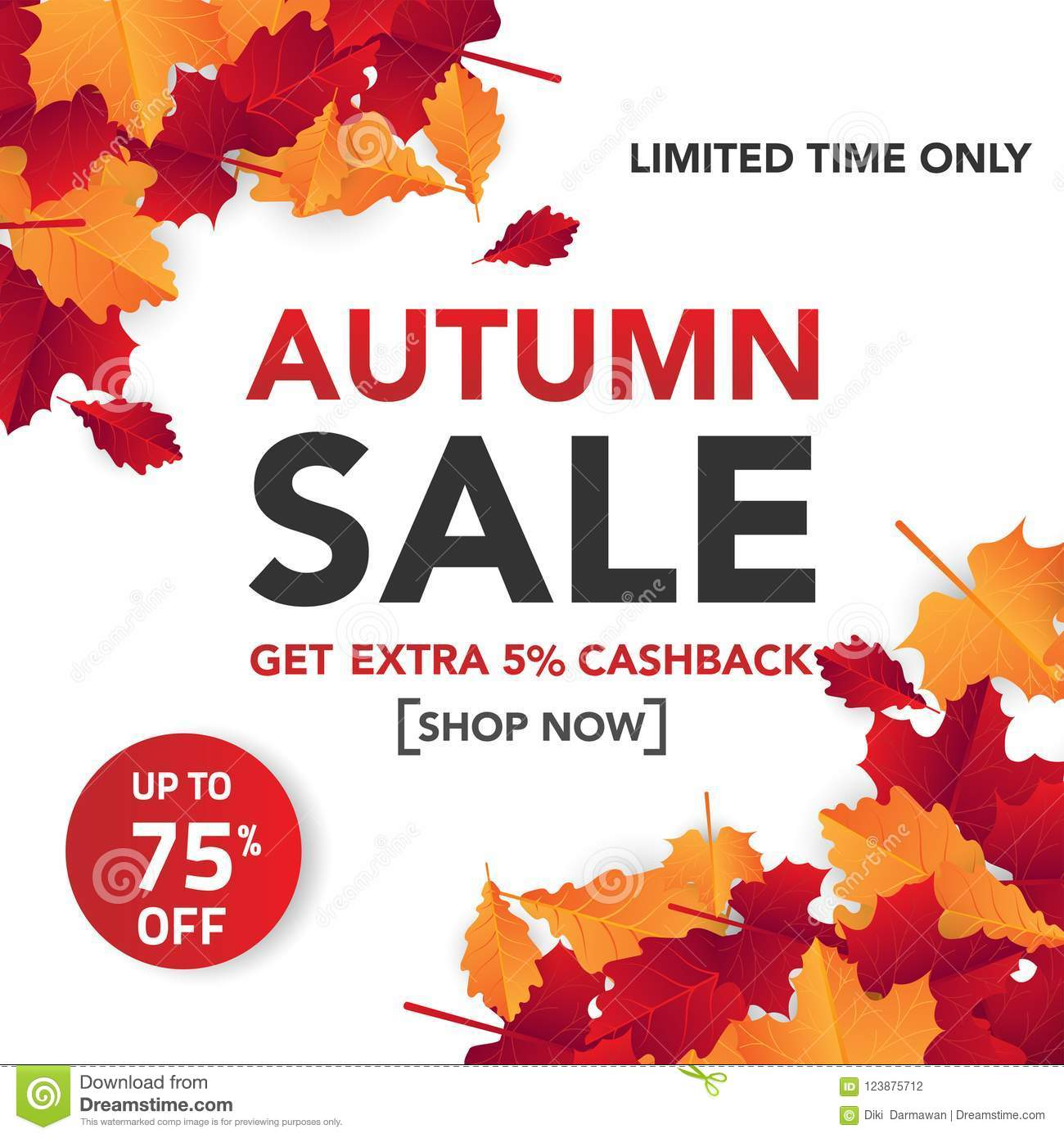 autumn sale banner template with leaves fall leaves for shopping