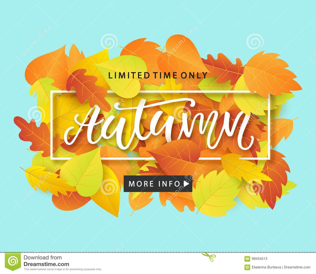 Autumn Sale Fashionable Banner Template with Colorful Fall Leaves on bright trendy blue background