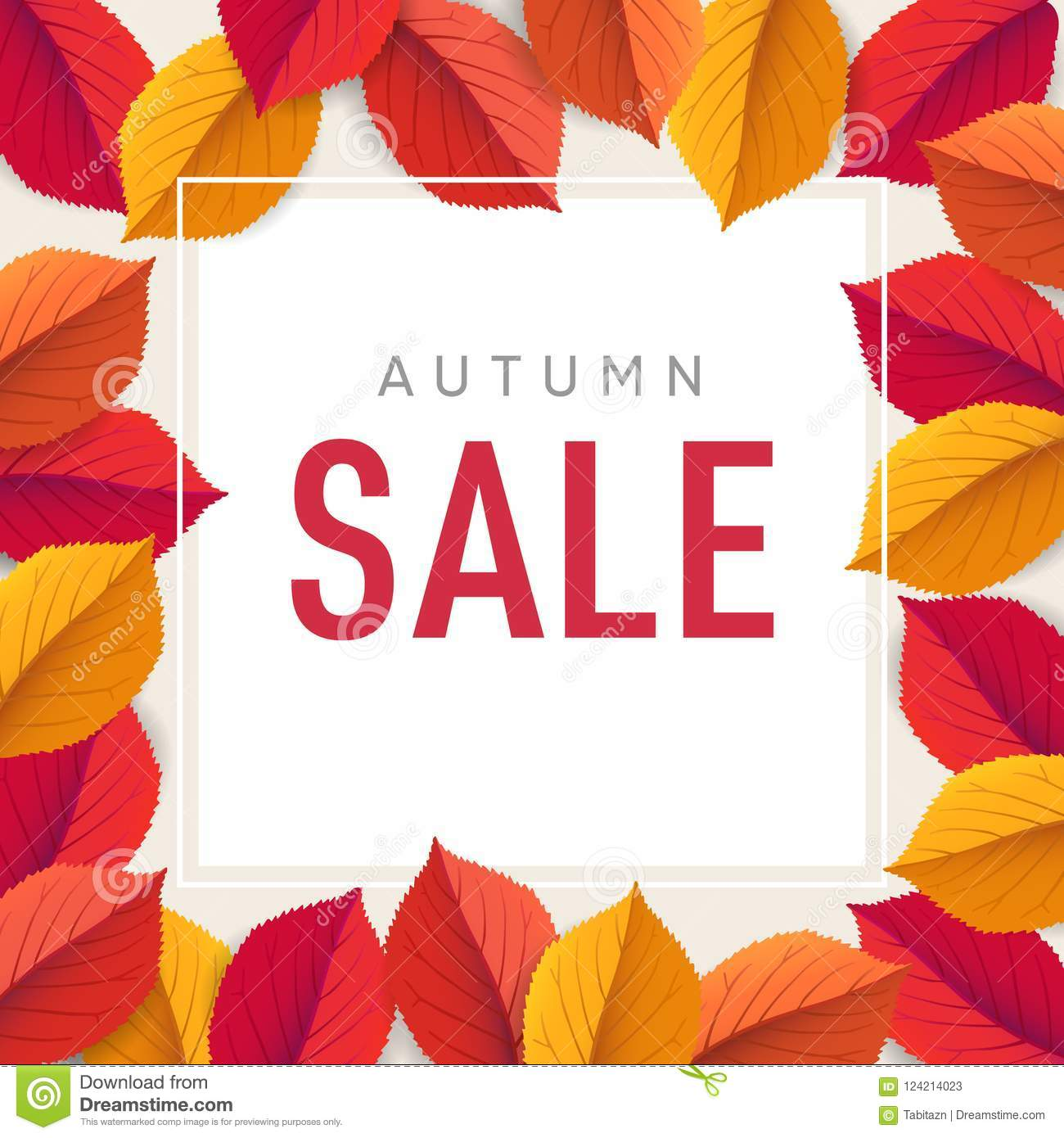 autumn sale flyer template bright colorful fall leaves poster