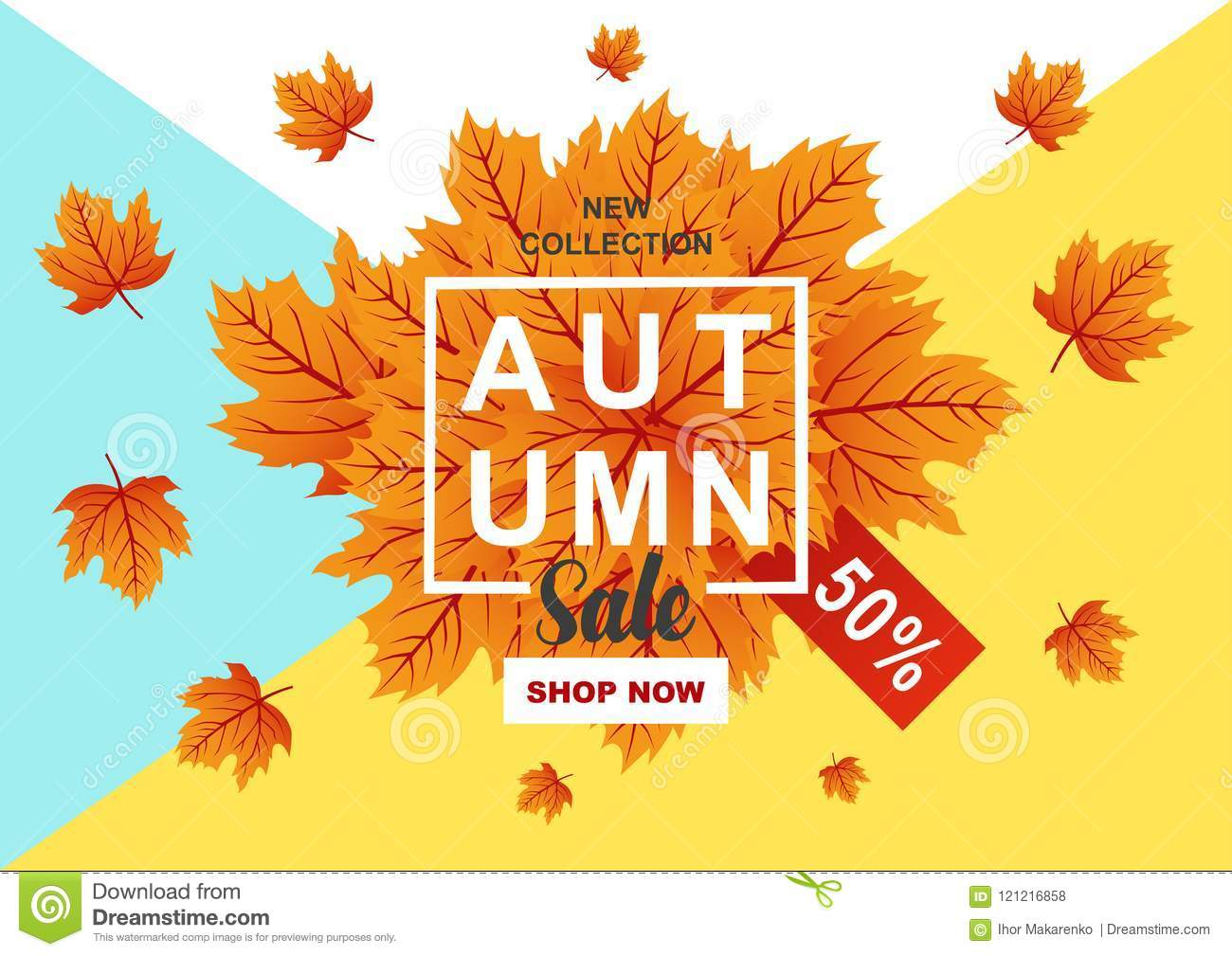 autumn sale flyer template with lettering bright fall leaves stock