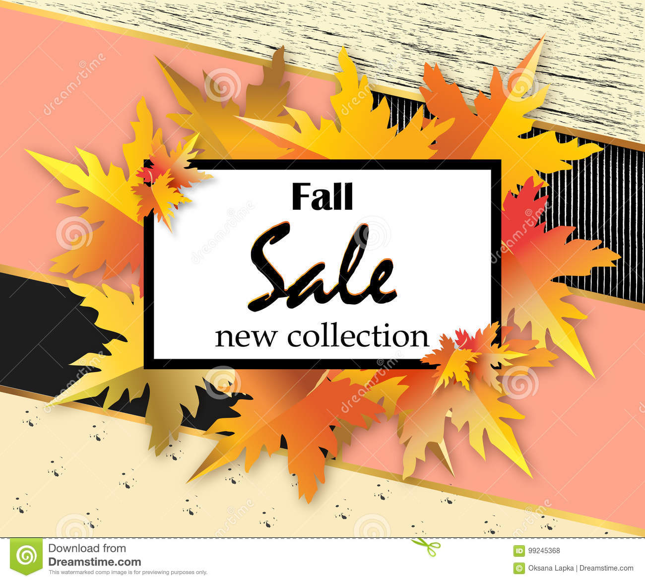 autumn sale flyer template with lettering orange leaves on modern