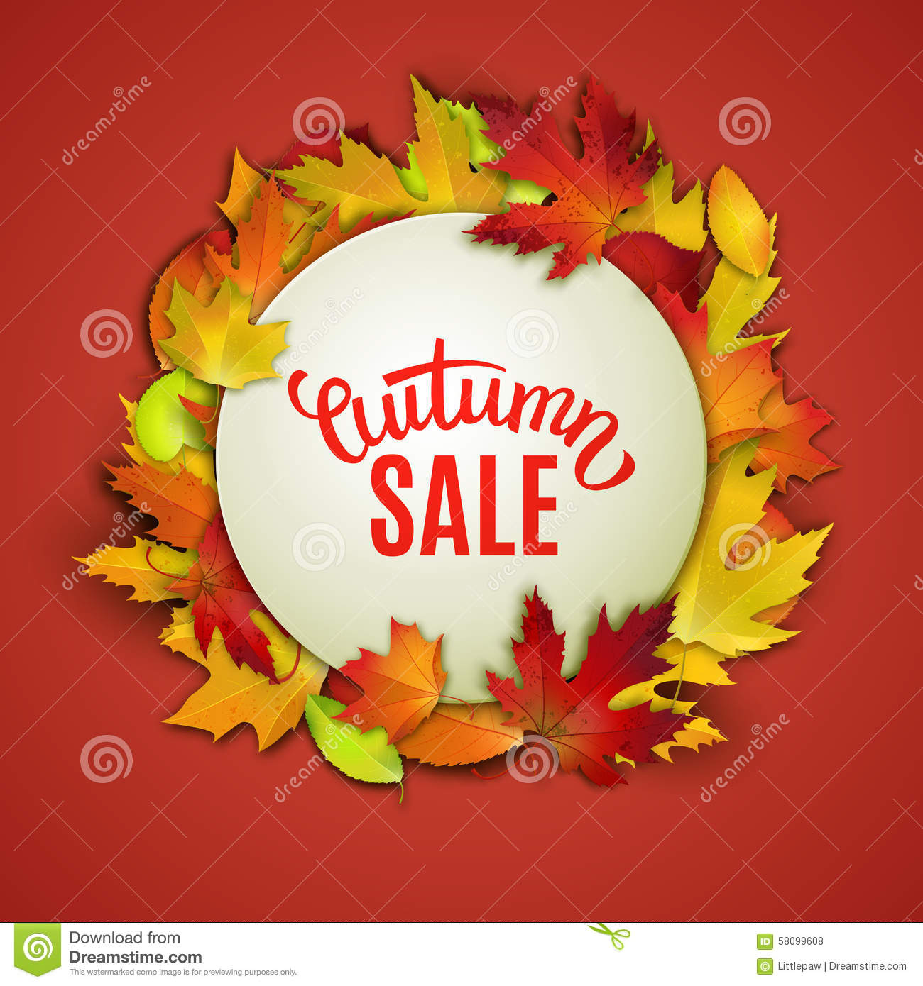 Autumn Sale Price Tag Label Advertising Vector