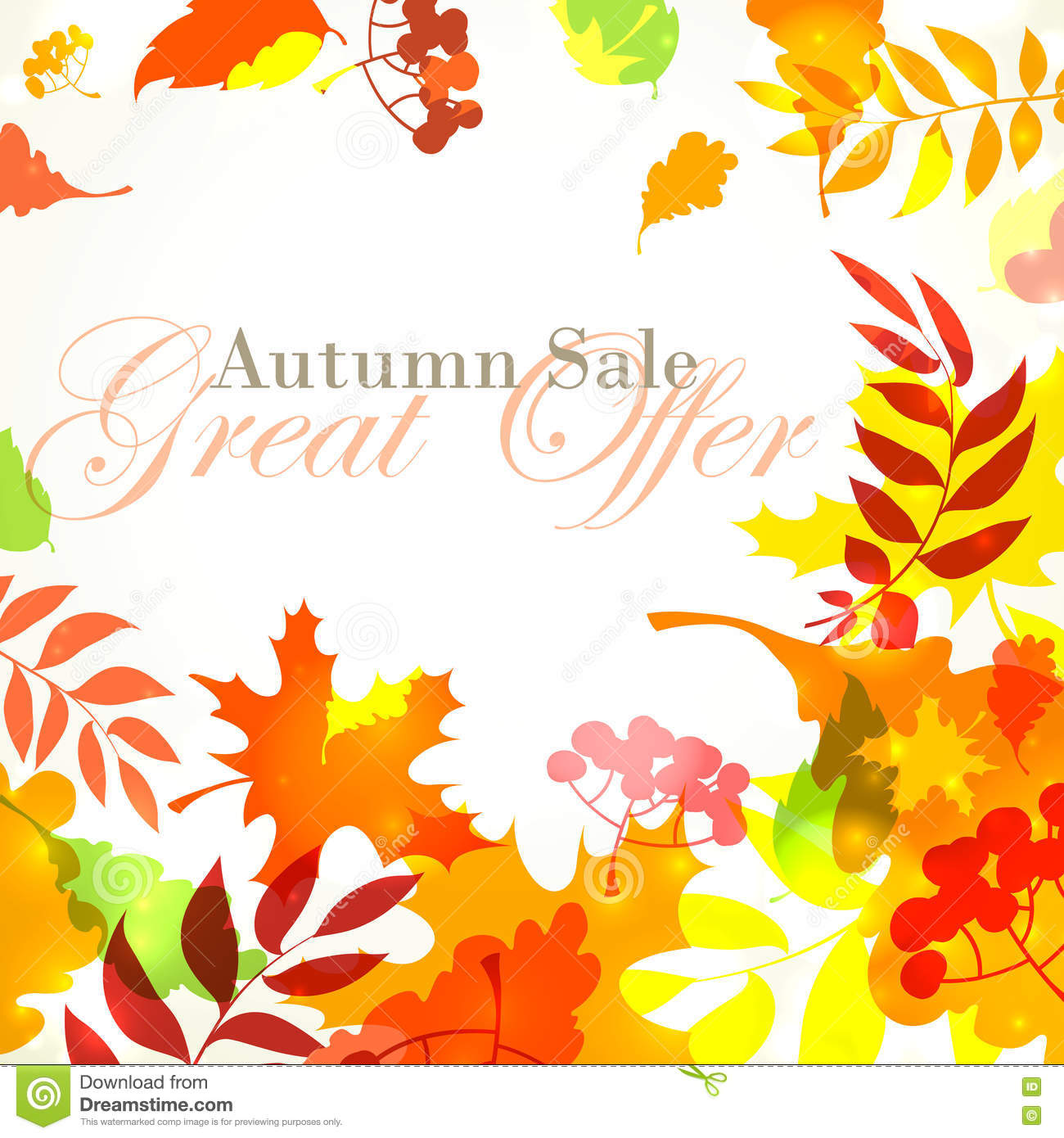 autumn sale template square frame with fall bright leaves oak