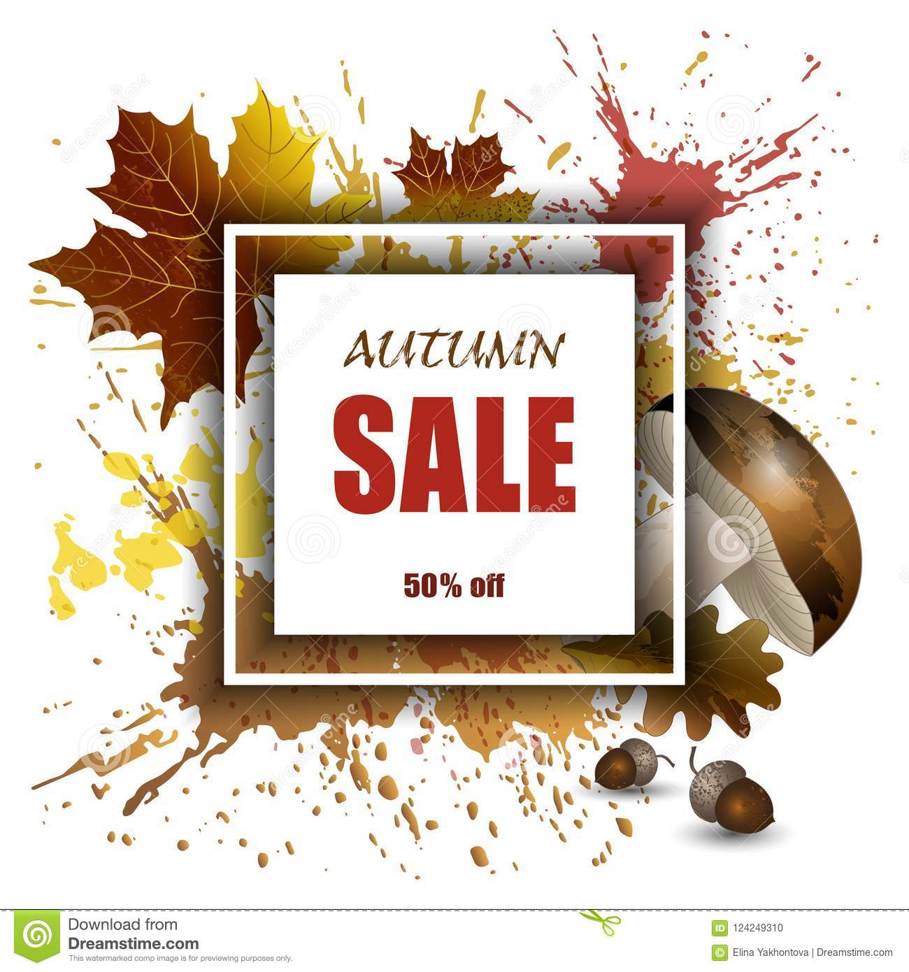 autumn sale vector background mockup for banner products