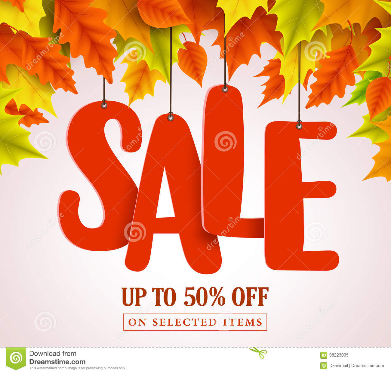 Autumn sale vector design with red sale text hanging in colorful maple leaves