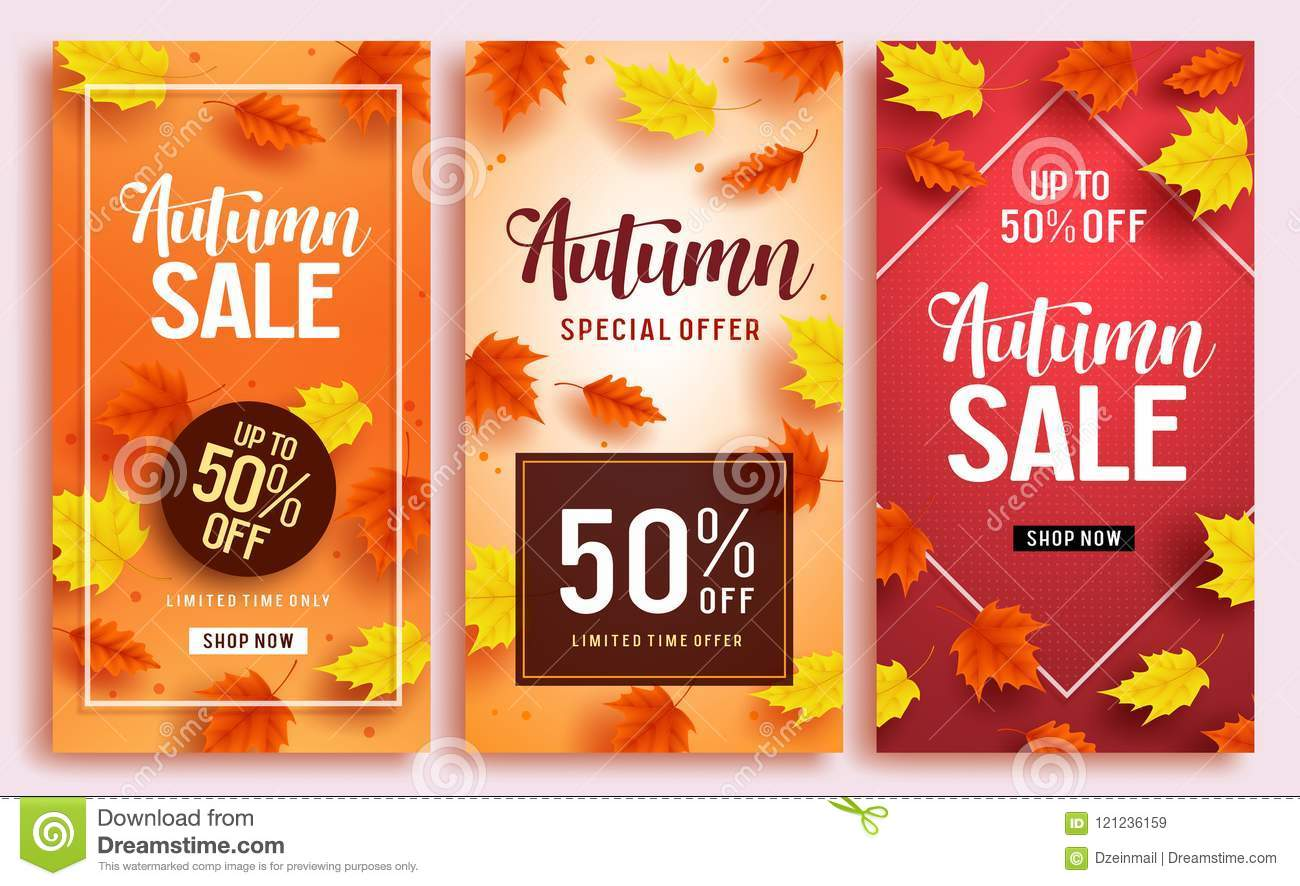 Autumn sale vector poster design template with 50  off sale text