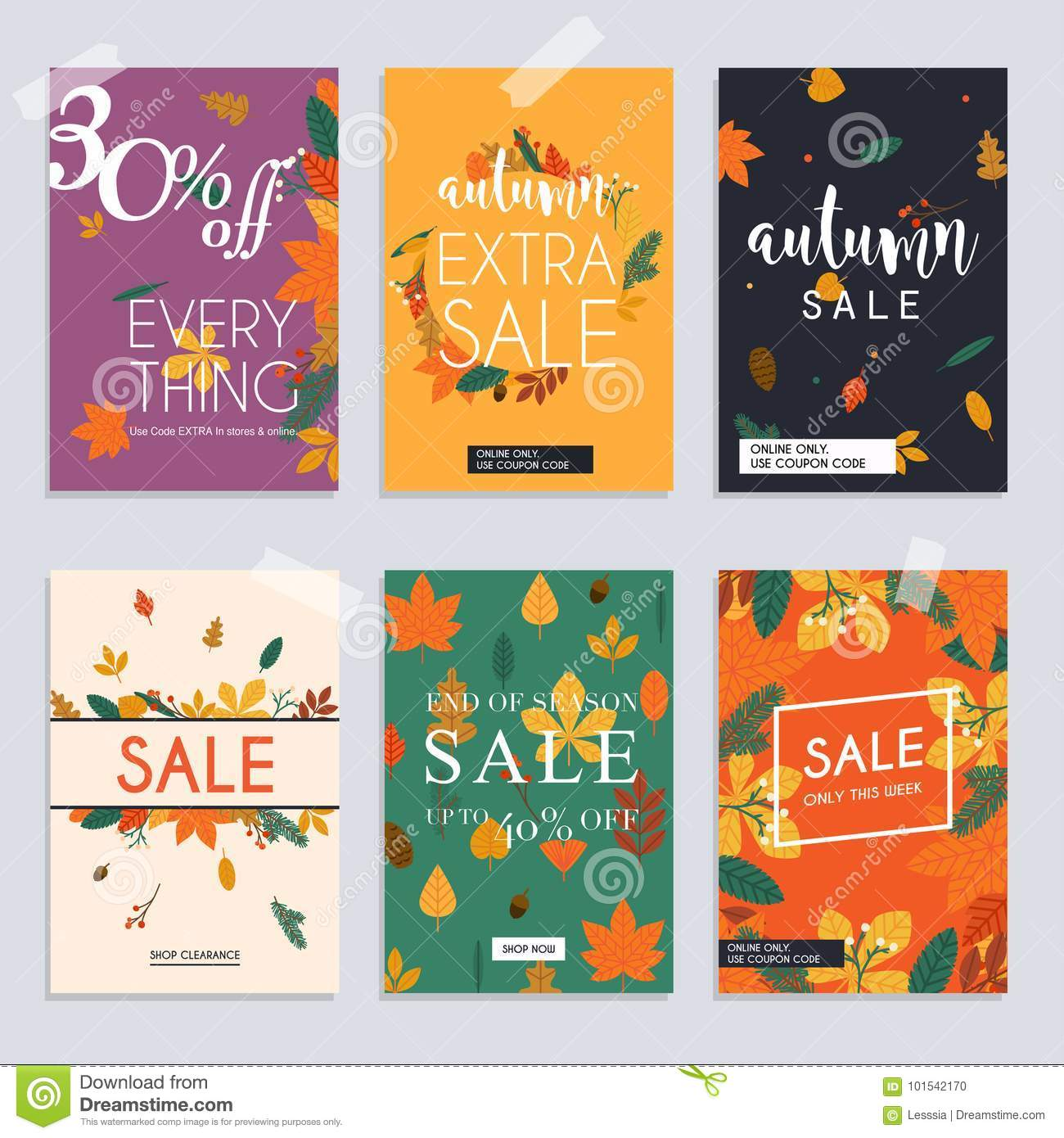 autumn sale website banners web template collection can be used