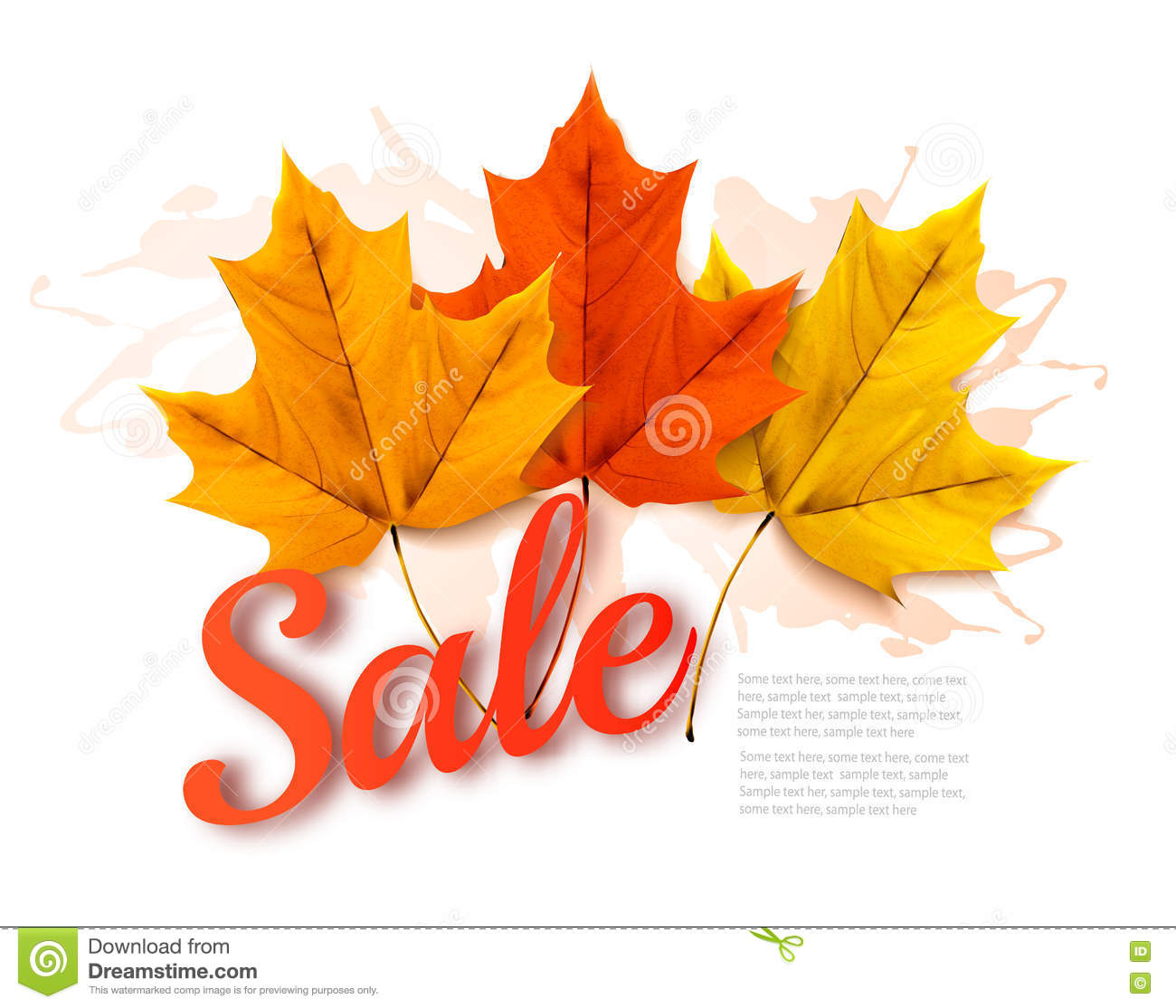 Autumn Sales banner with colorful leaves.