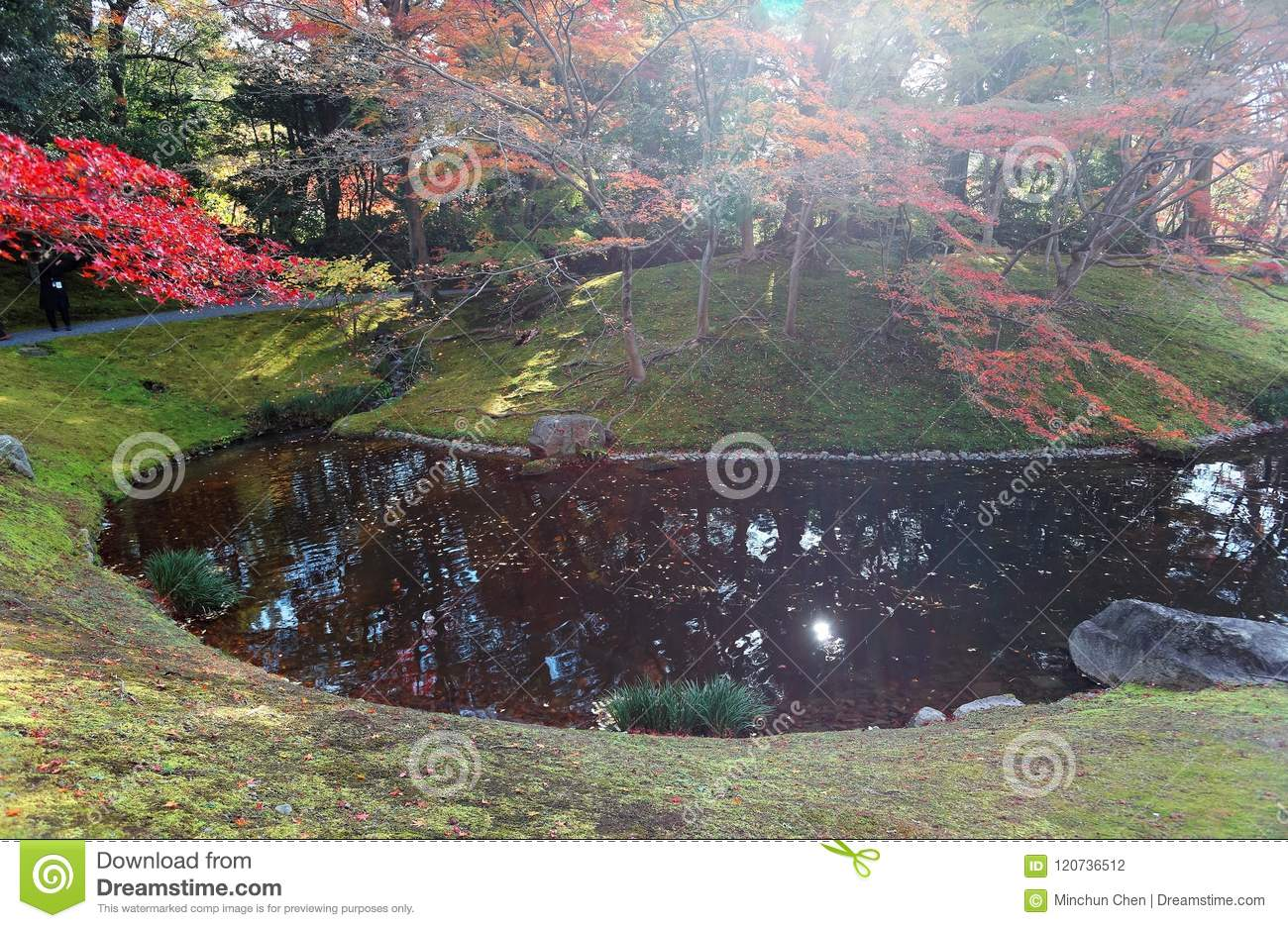 Autumn scenery of a beautiful corner in a Japanese garden in Sento Imperial Palace Royal Villa Park in Kyoto, Japan