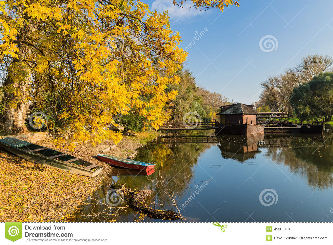 Stock Photo Autumn Scenery Water Mill Watermill Boat Slovak Town Kolarovo Image45385764 on Small Lake House Plans