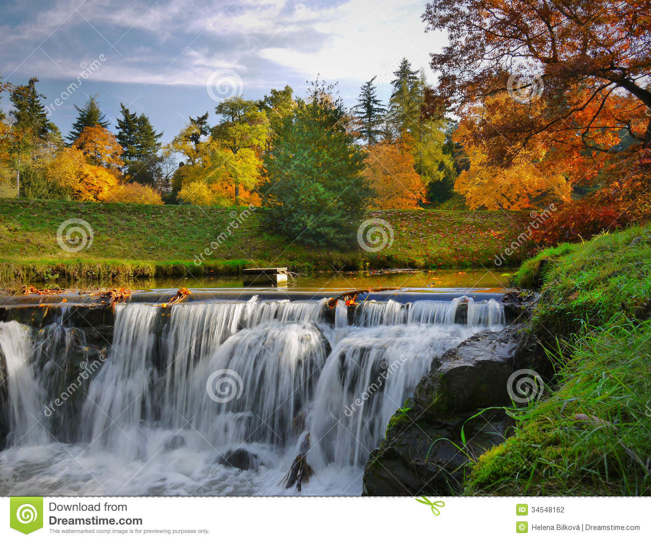 Download Autumn Scenery Waterfalls Park Landscape Stock Photo - Image of morning, seasonal: 34548162