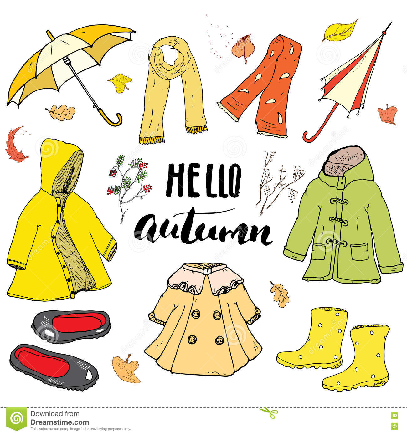 Autumn Season Clothes Set. Hand Drawn Doodles And ...