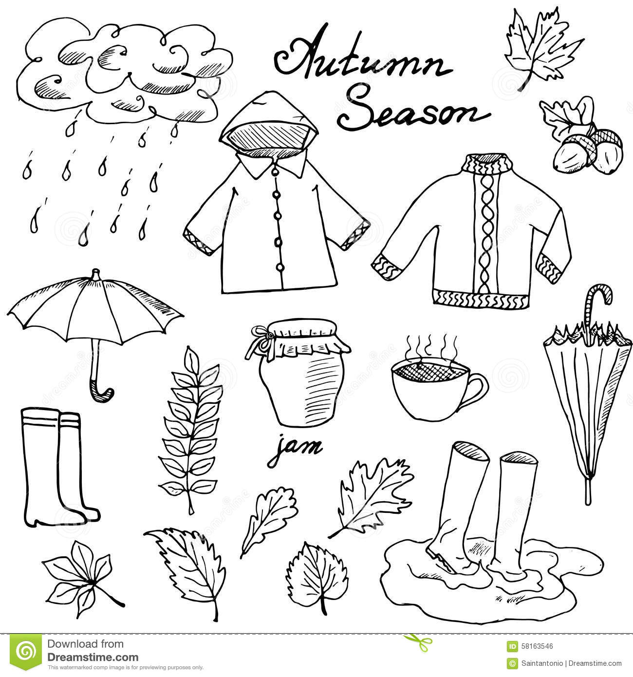 Autumn Season Set Doodles Elements Hand Drawn Set With Umprella Cuo Of Hot Tea Rain Rubber