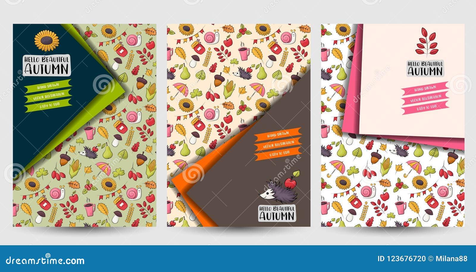 autumn season set of flyers printable brochure template stock