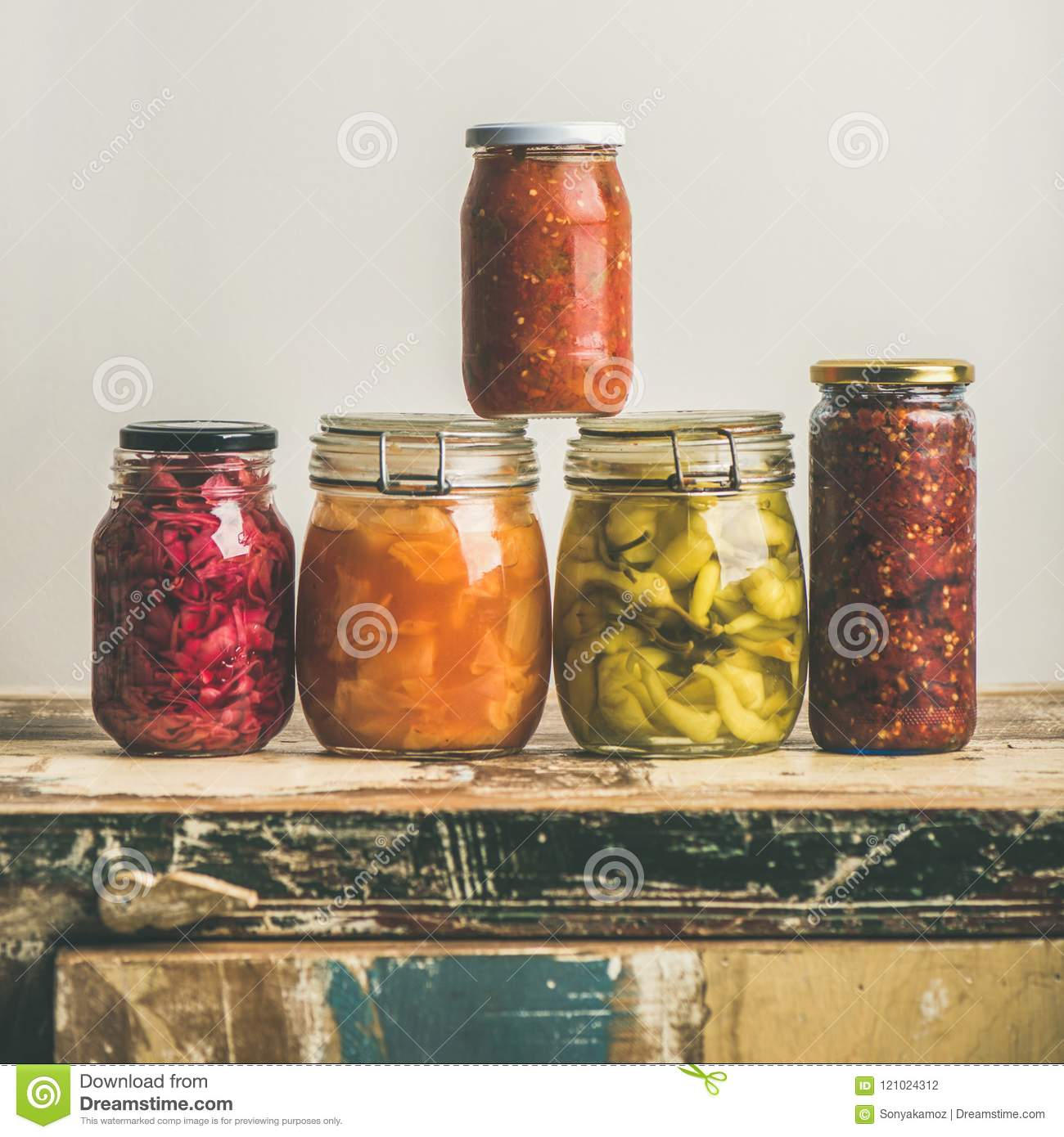 Autumn seasonal pickled or fermented colorful vegetables, square crop