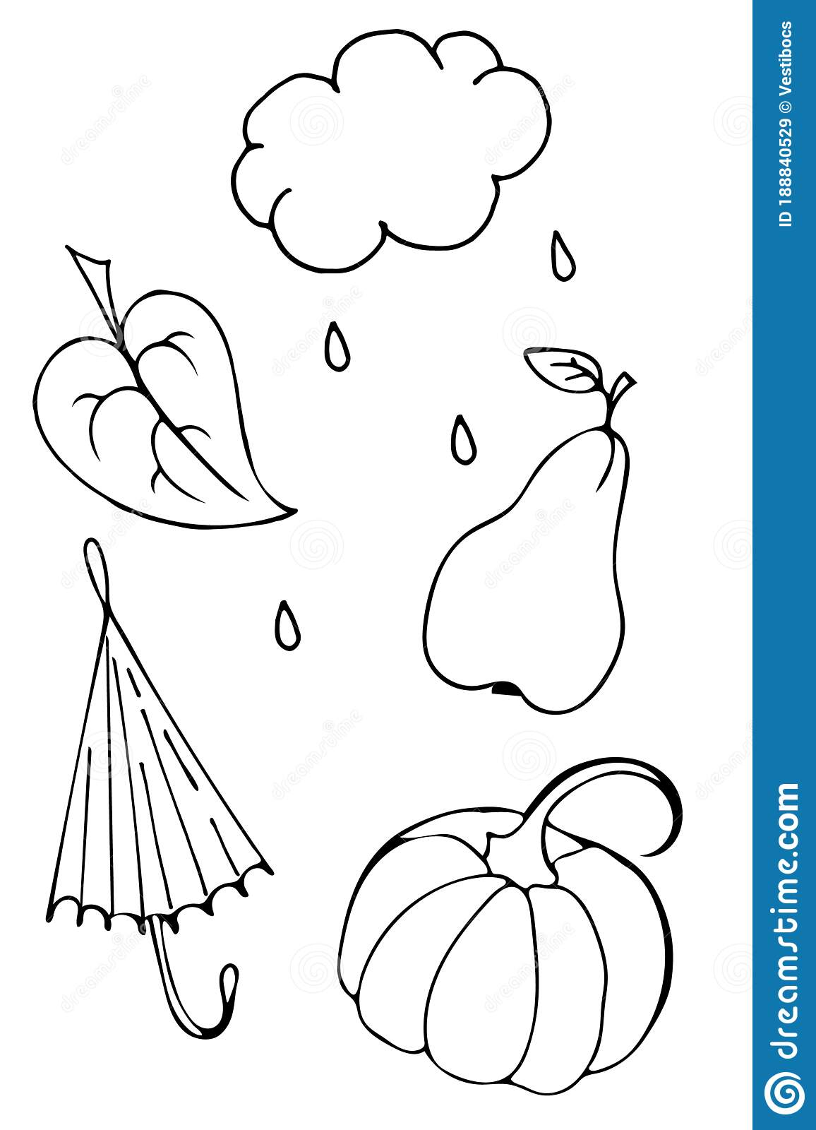 Autumn Set Of Outline Hand Drawing Images In Form Of Coloring Pages Stock Vector Illustration Of Nature Funny 188840529