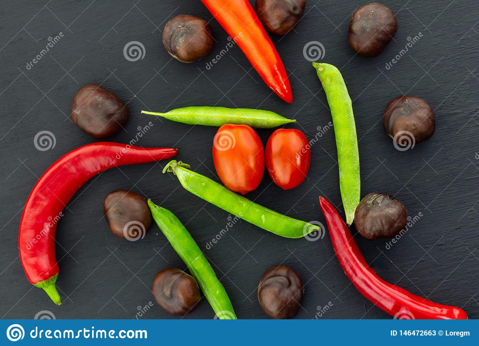 Autumn set pod pea pod pepper red mature brown fruit chestnut tomatoes cherry mix vegetable