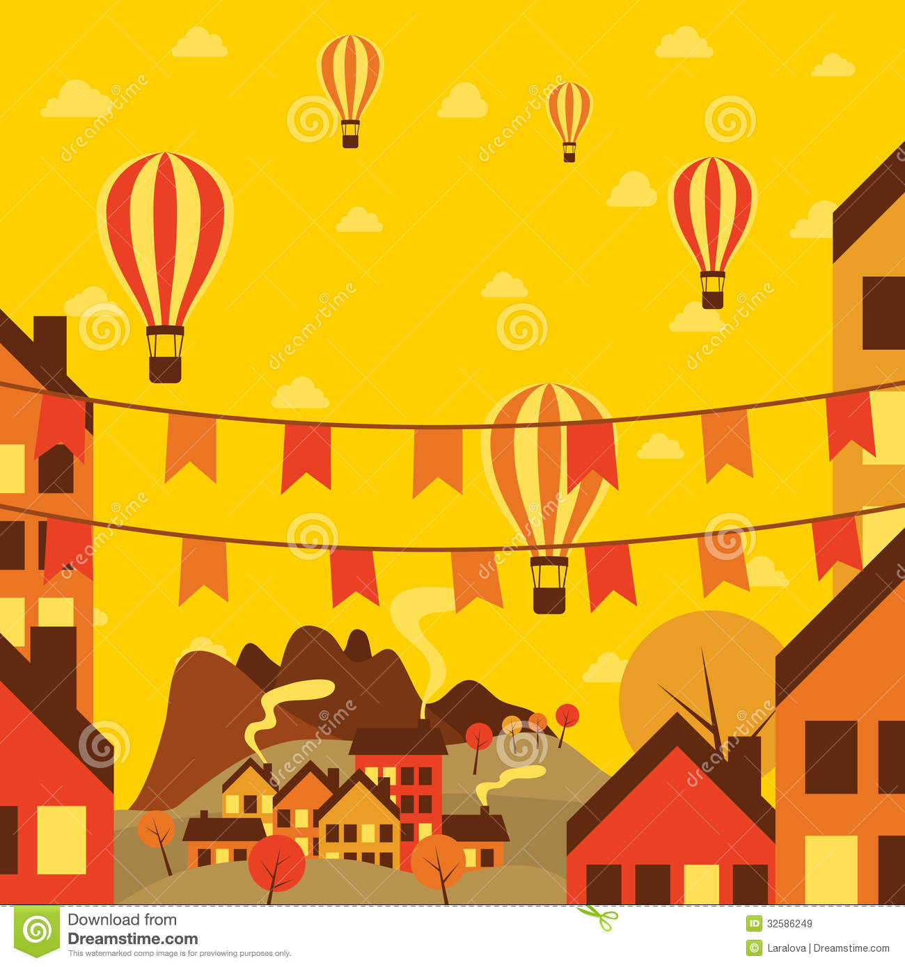 Town Landscape Vector Illustration: Autumn Small Town With Air Balloons Royalty Free Stock
